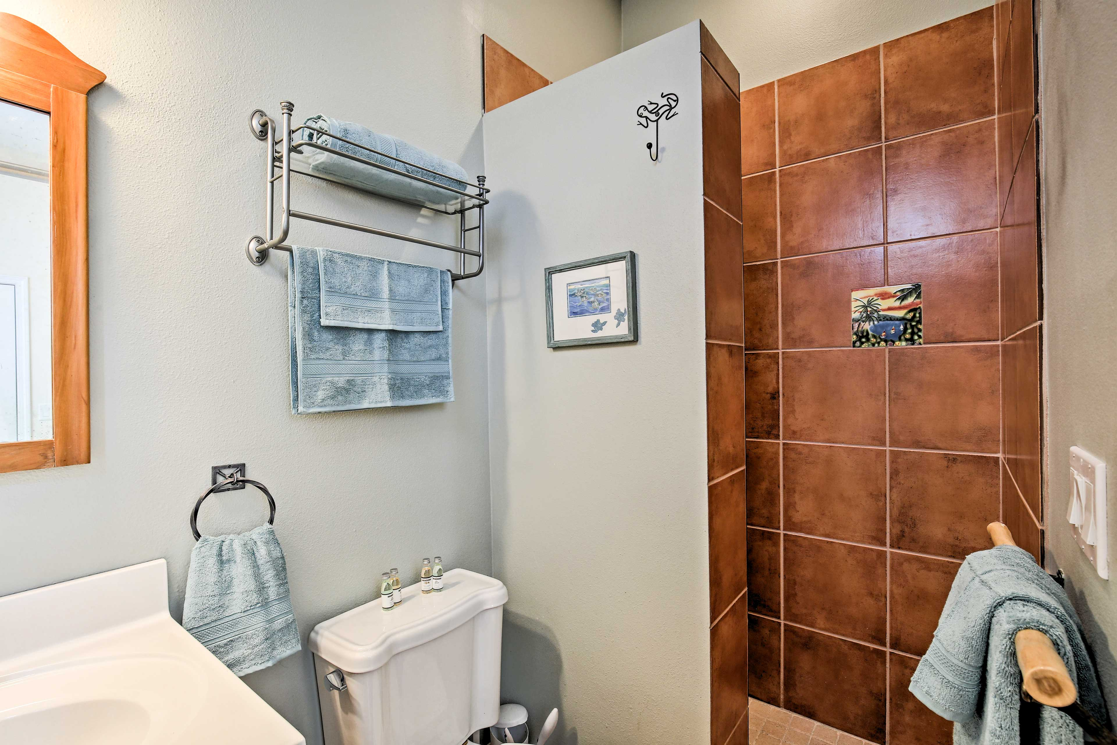 Rinse off the day in this walk-in shower.