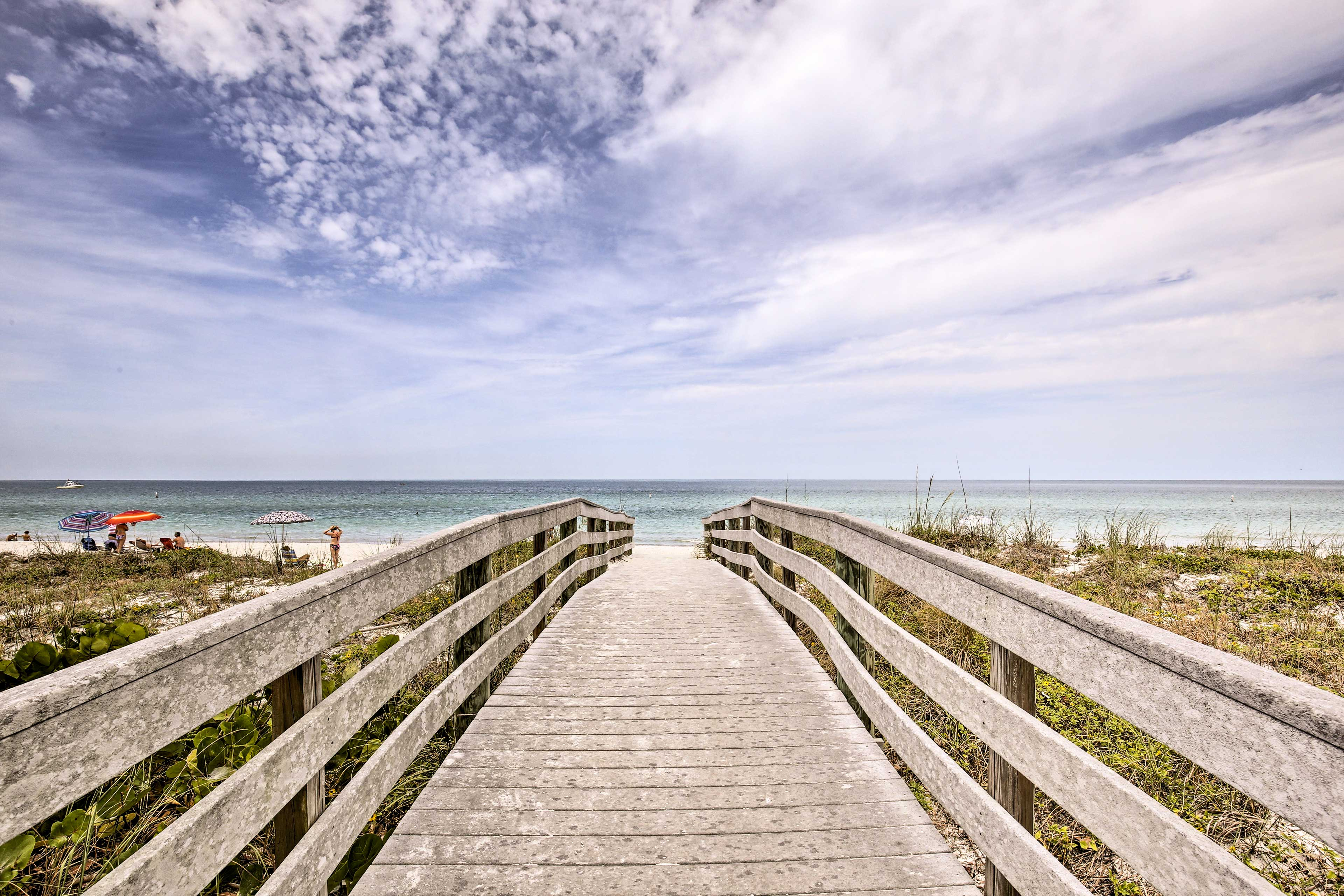 Steps from the beach, this condo is a beach bunny's paradise.