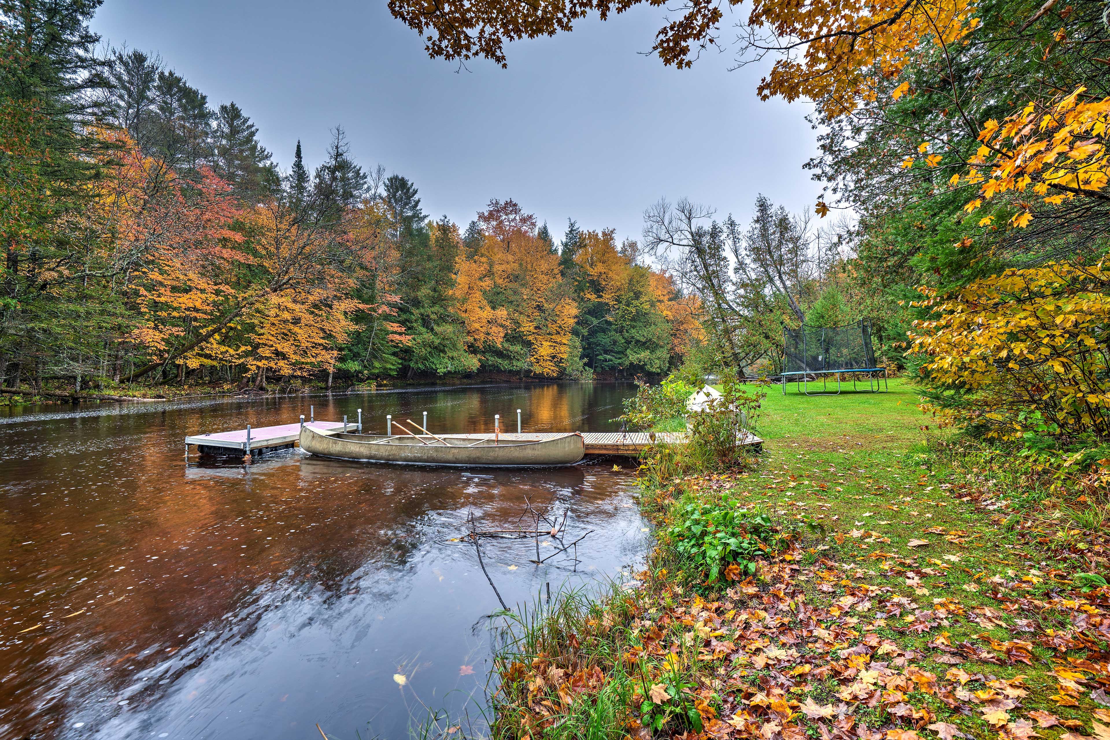 Enjoy peaceful paddles on the canoe.