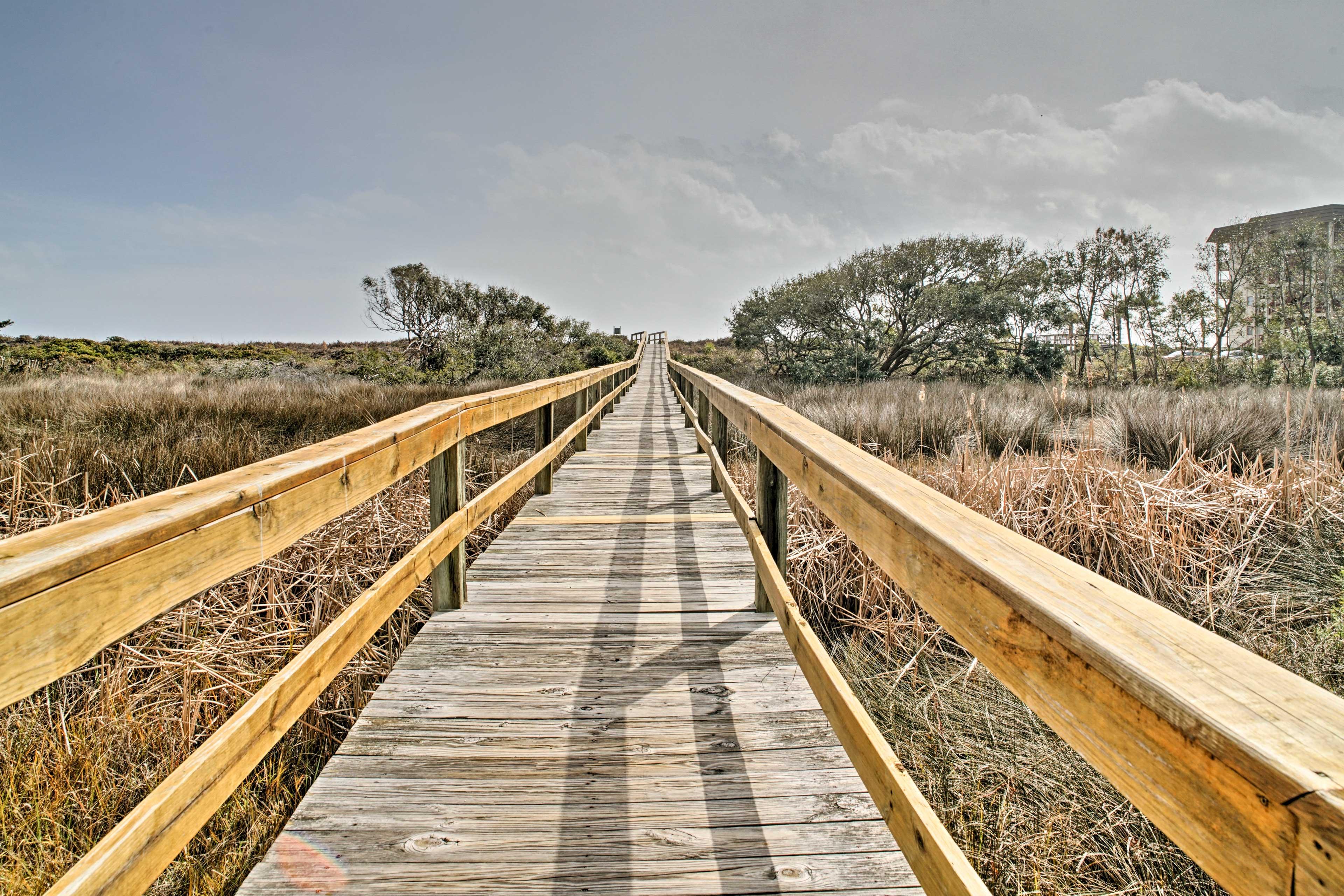 Take a stroll down the boardwalk to the coast of Hilton Head Island Beach!