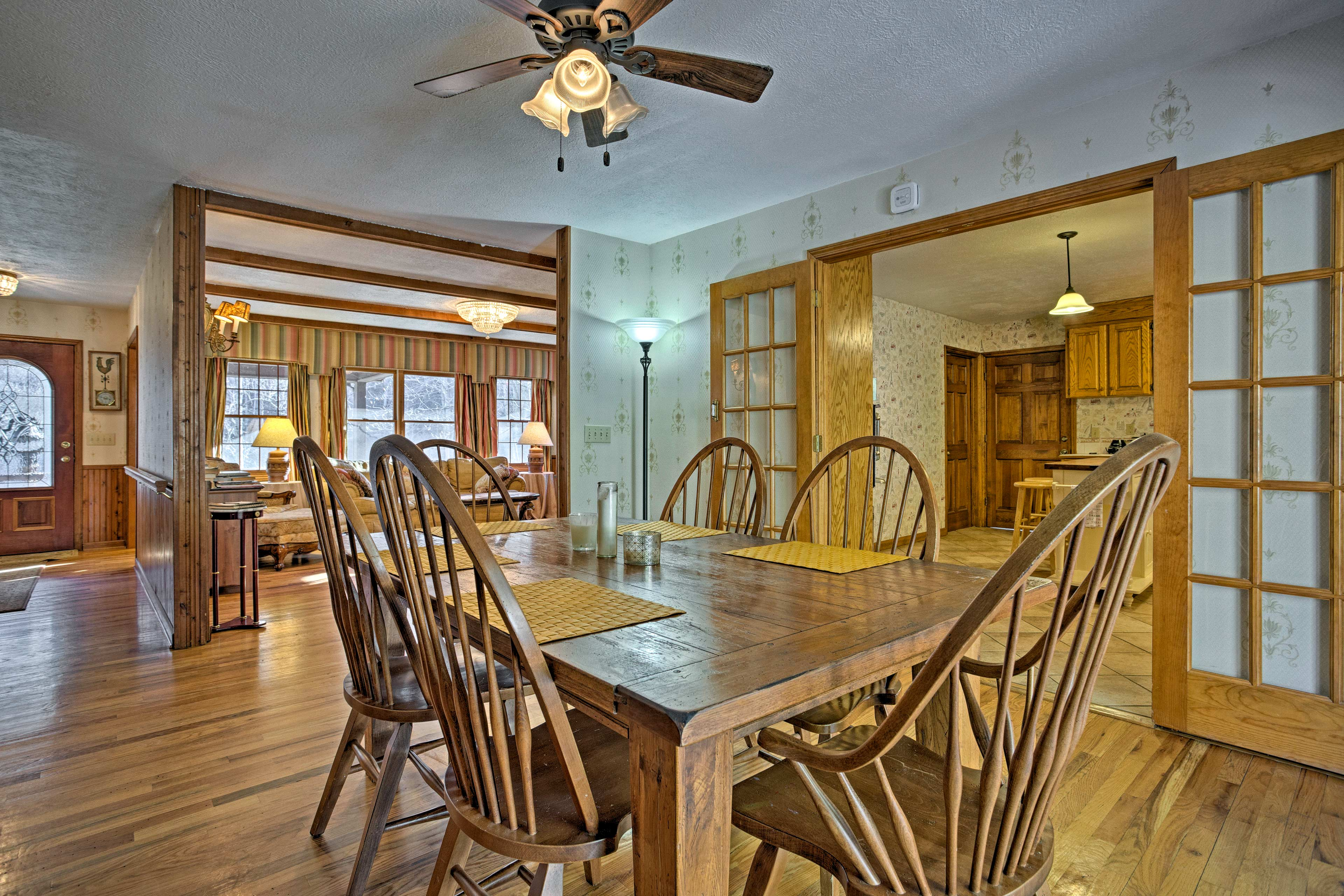 Savor meals around the 6-person dining table.