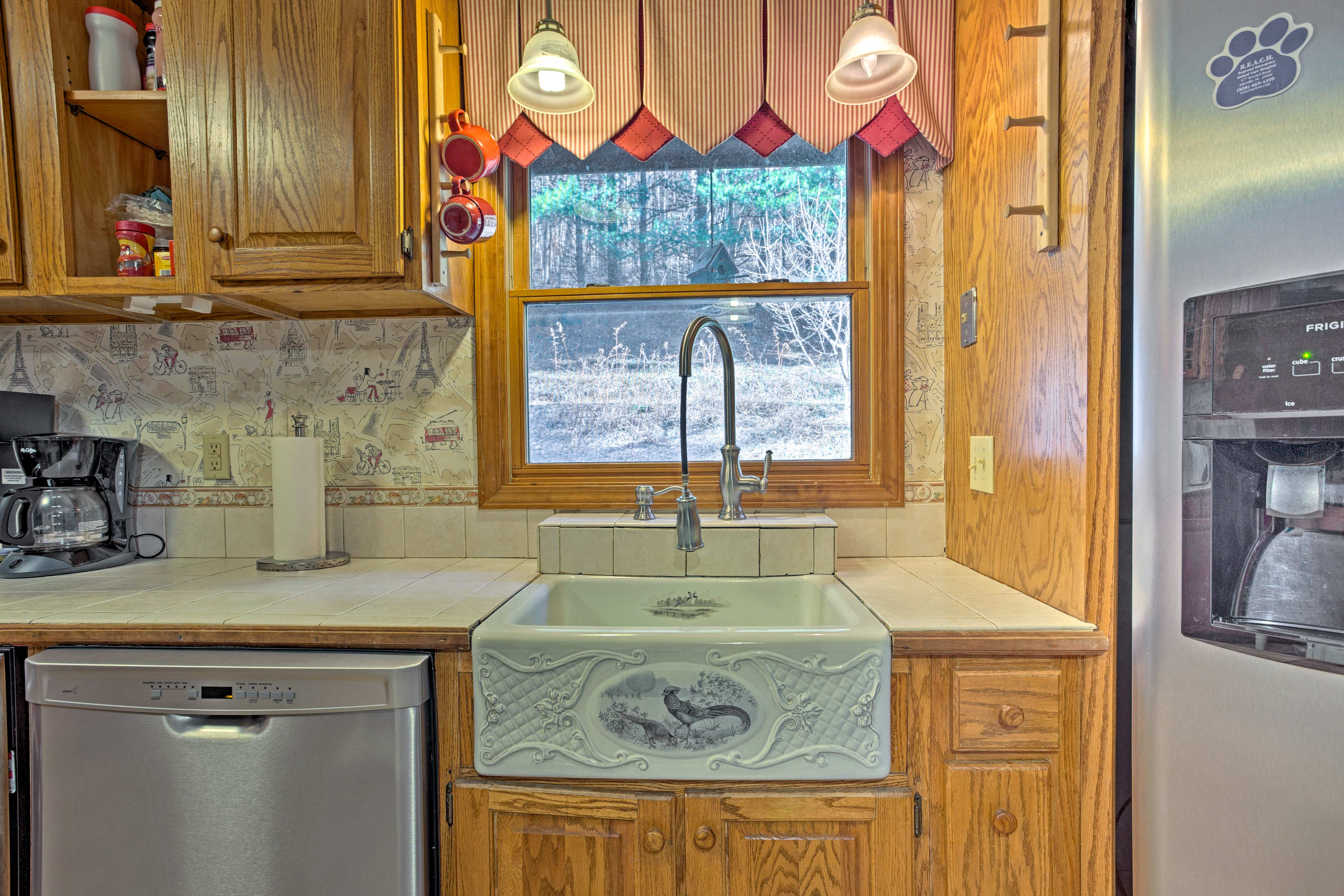 The space boasts stainless steel appliances.