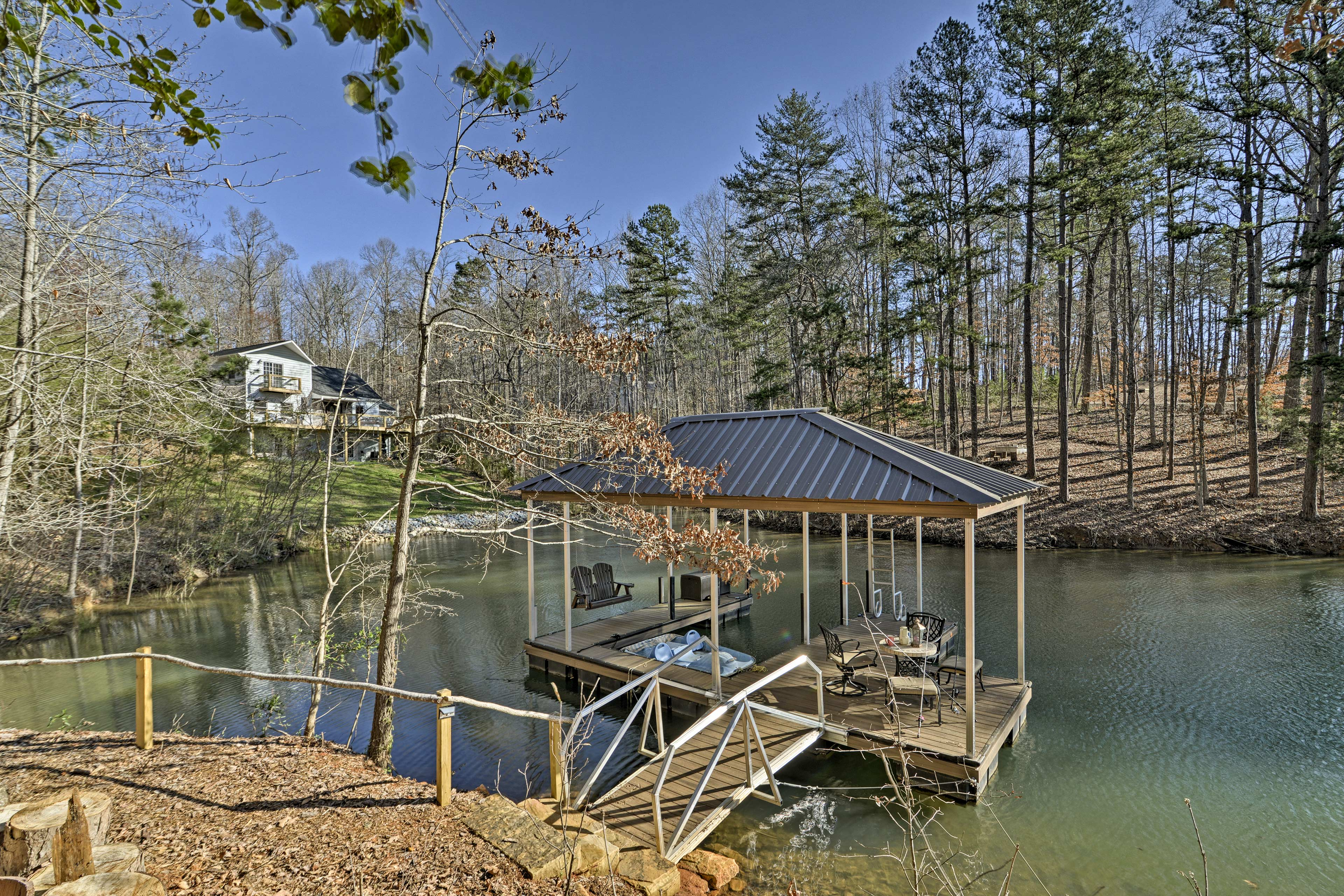 The private dock is perfect for storing your boat.