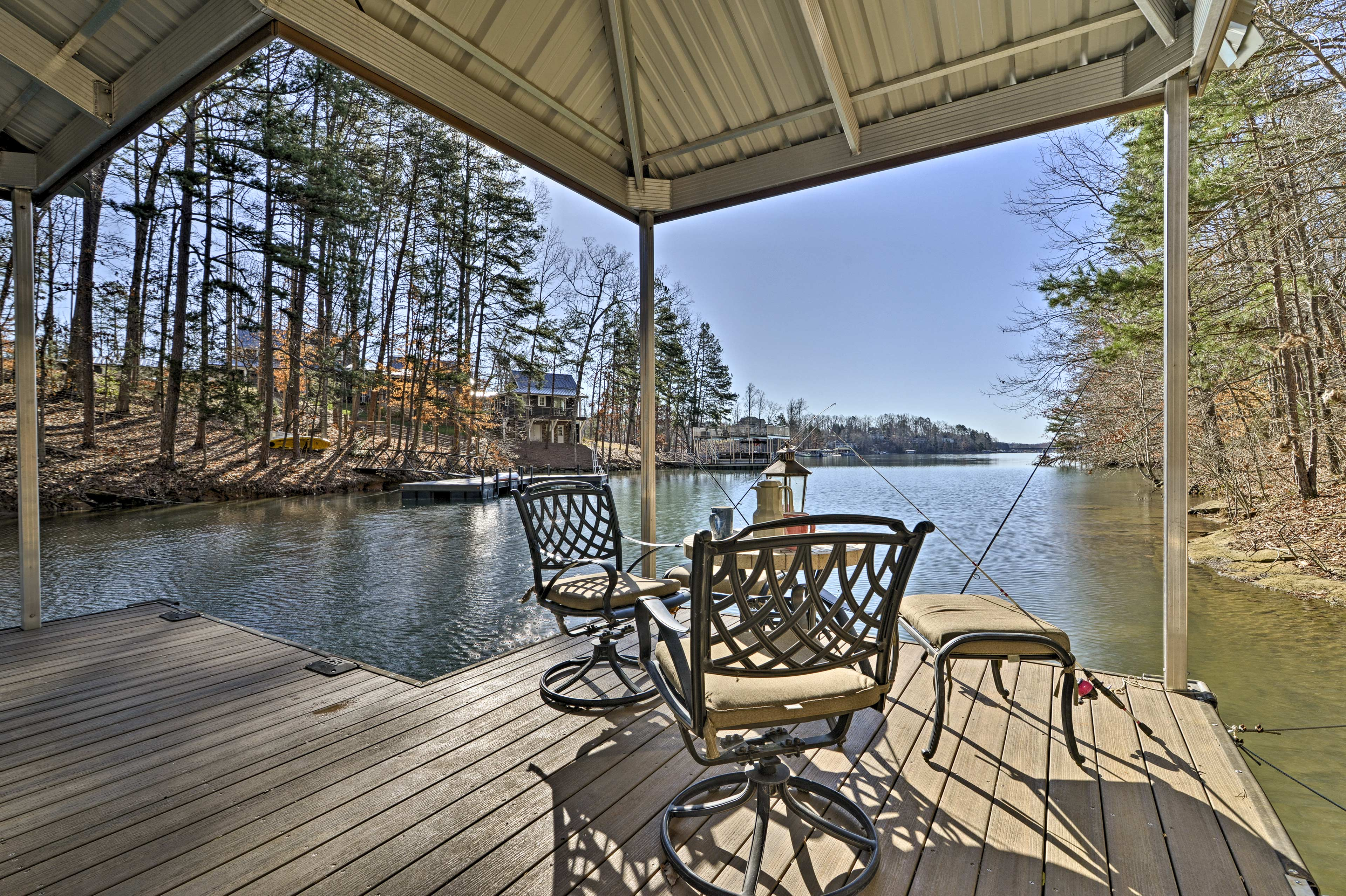 Sit down by the dock to reel in some fish.