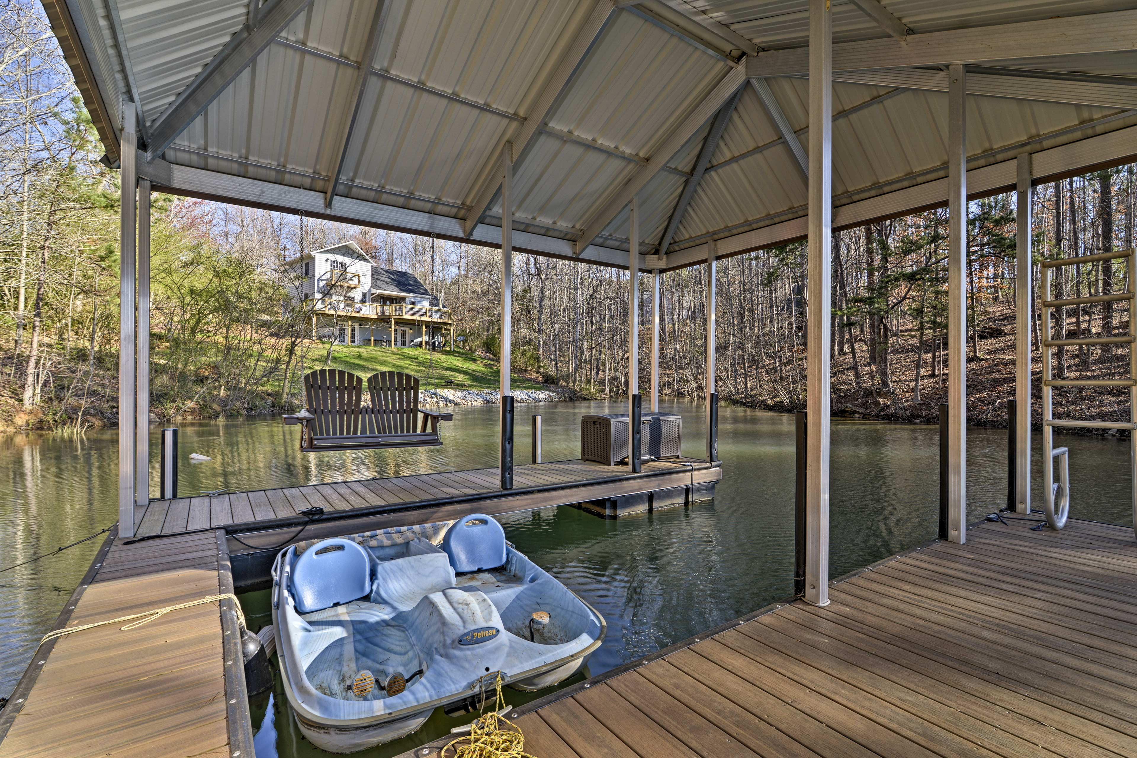 The property has a paddle boat and canoe for your use.