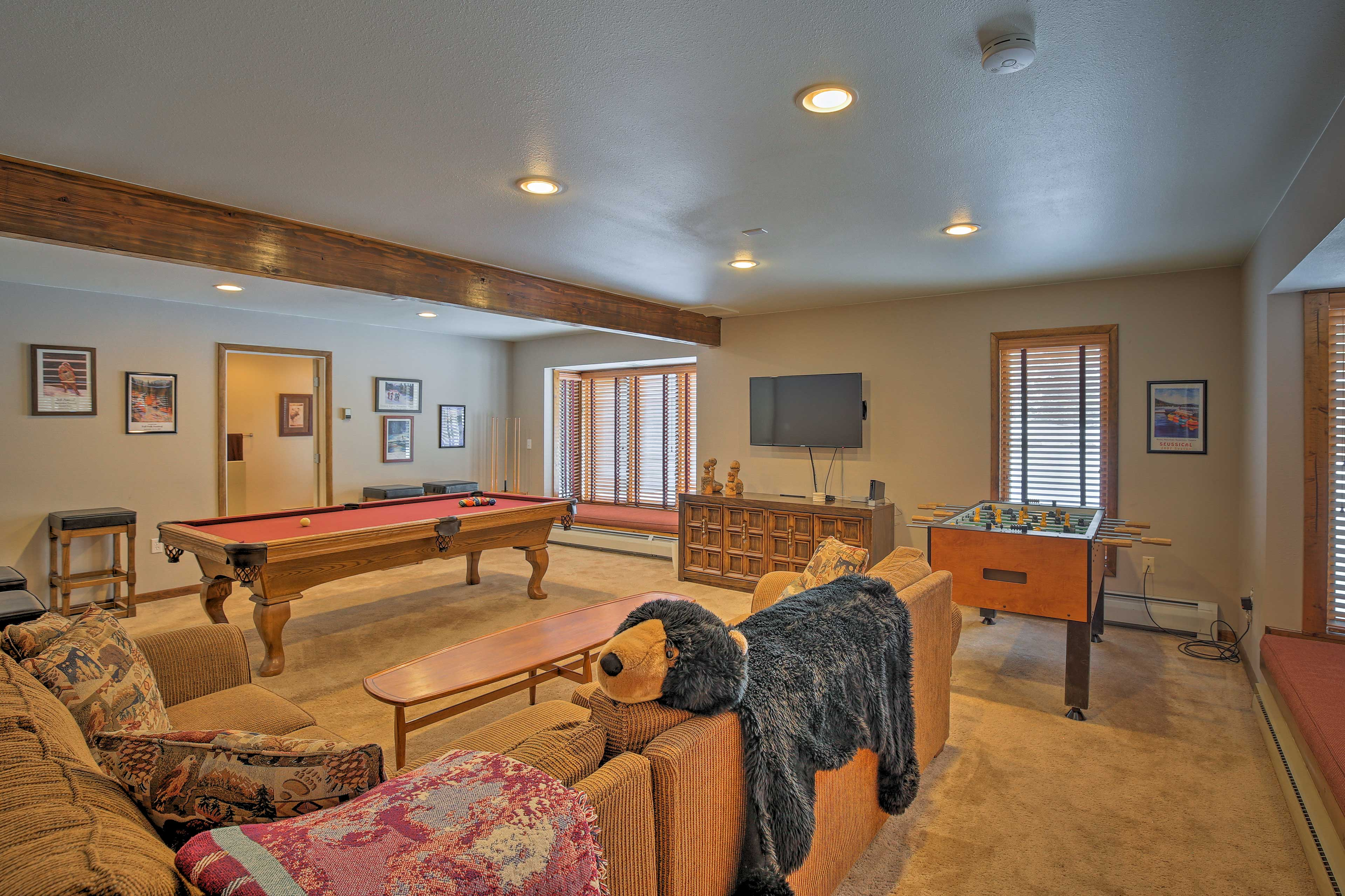 Practice your trick shot on the pool table or play a game of foosball.