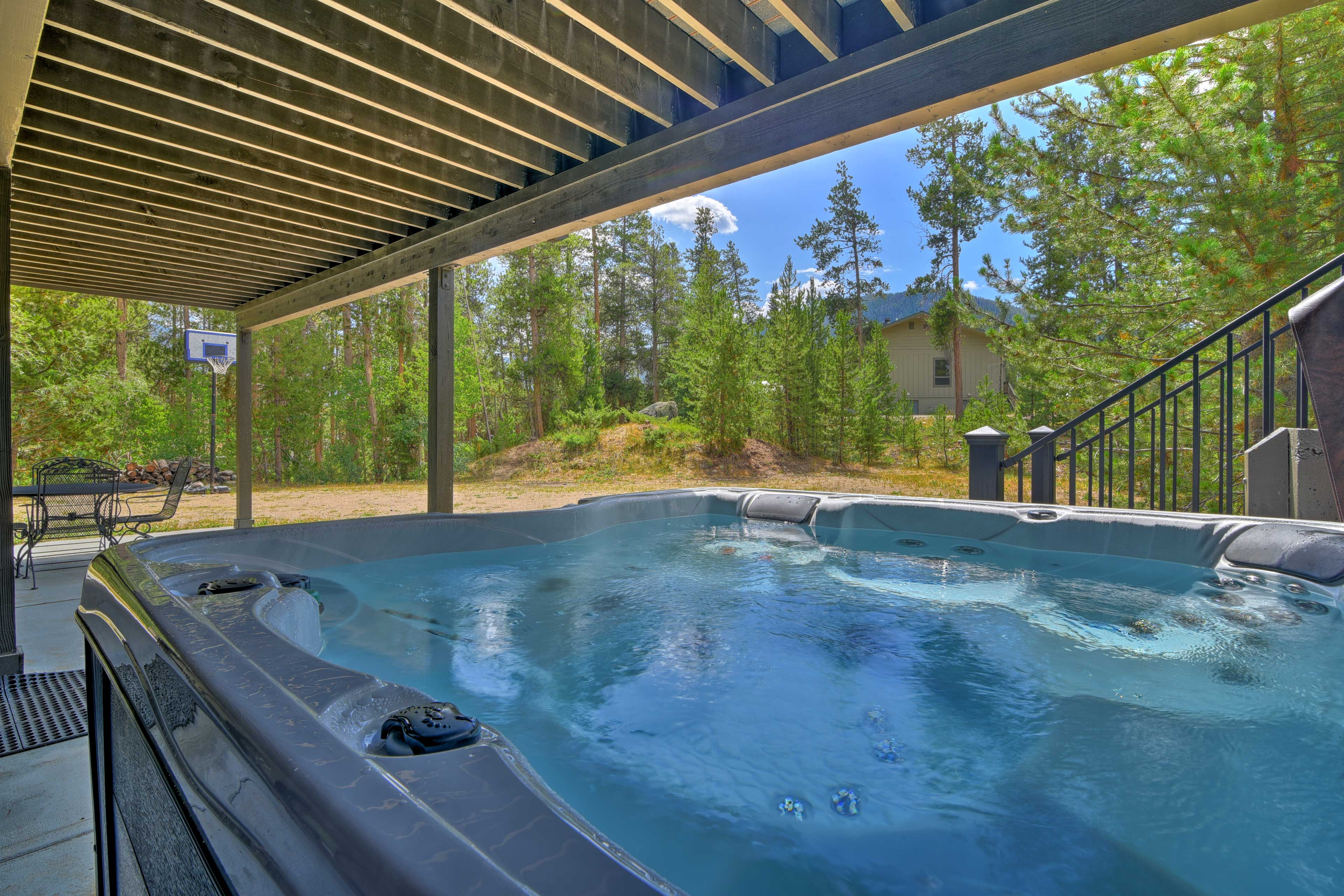 End each alpine adventure in your private hot tub.