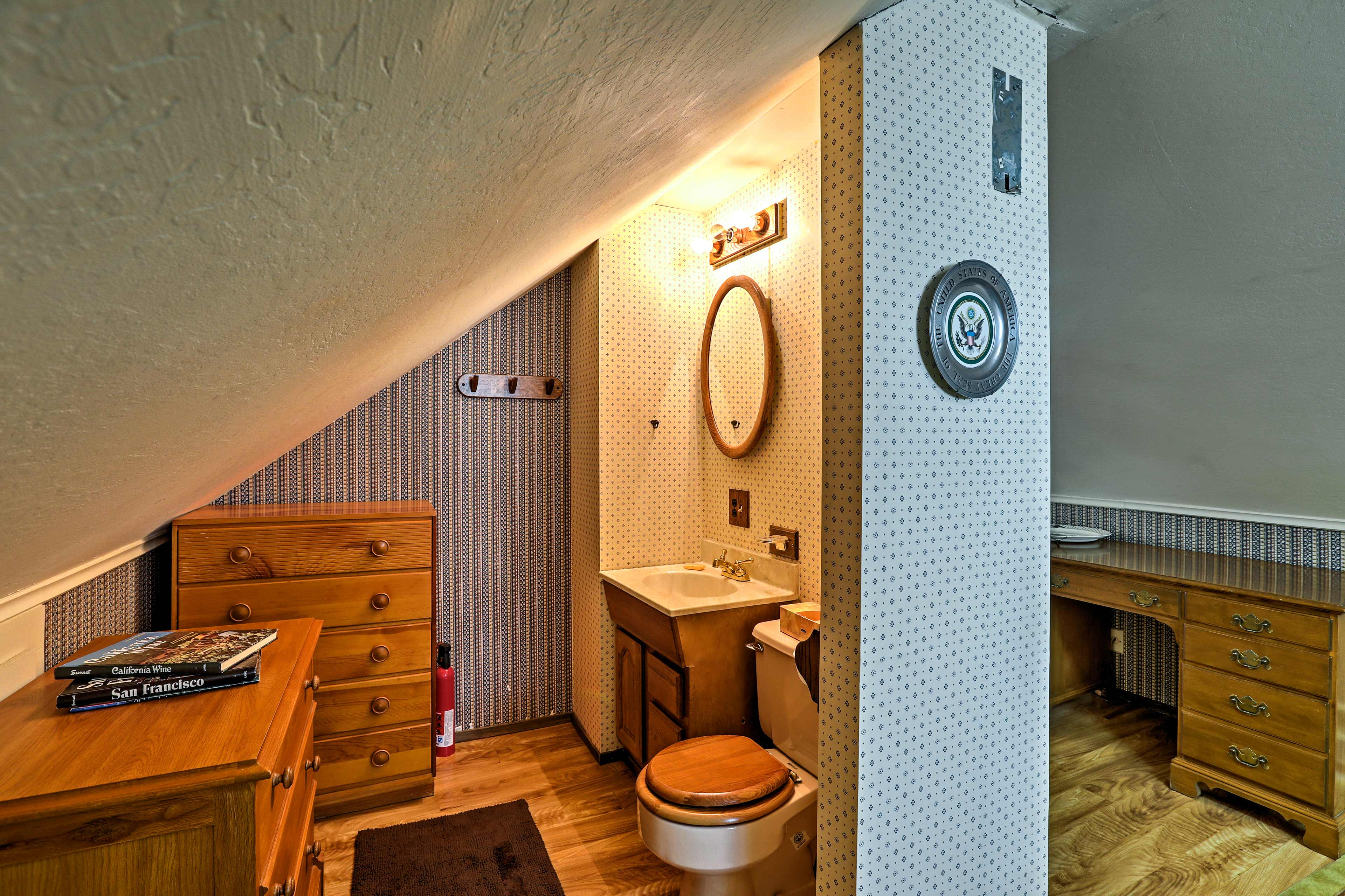 A private half bath sits right off the room.