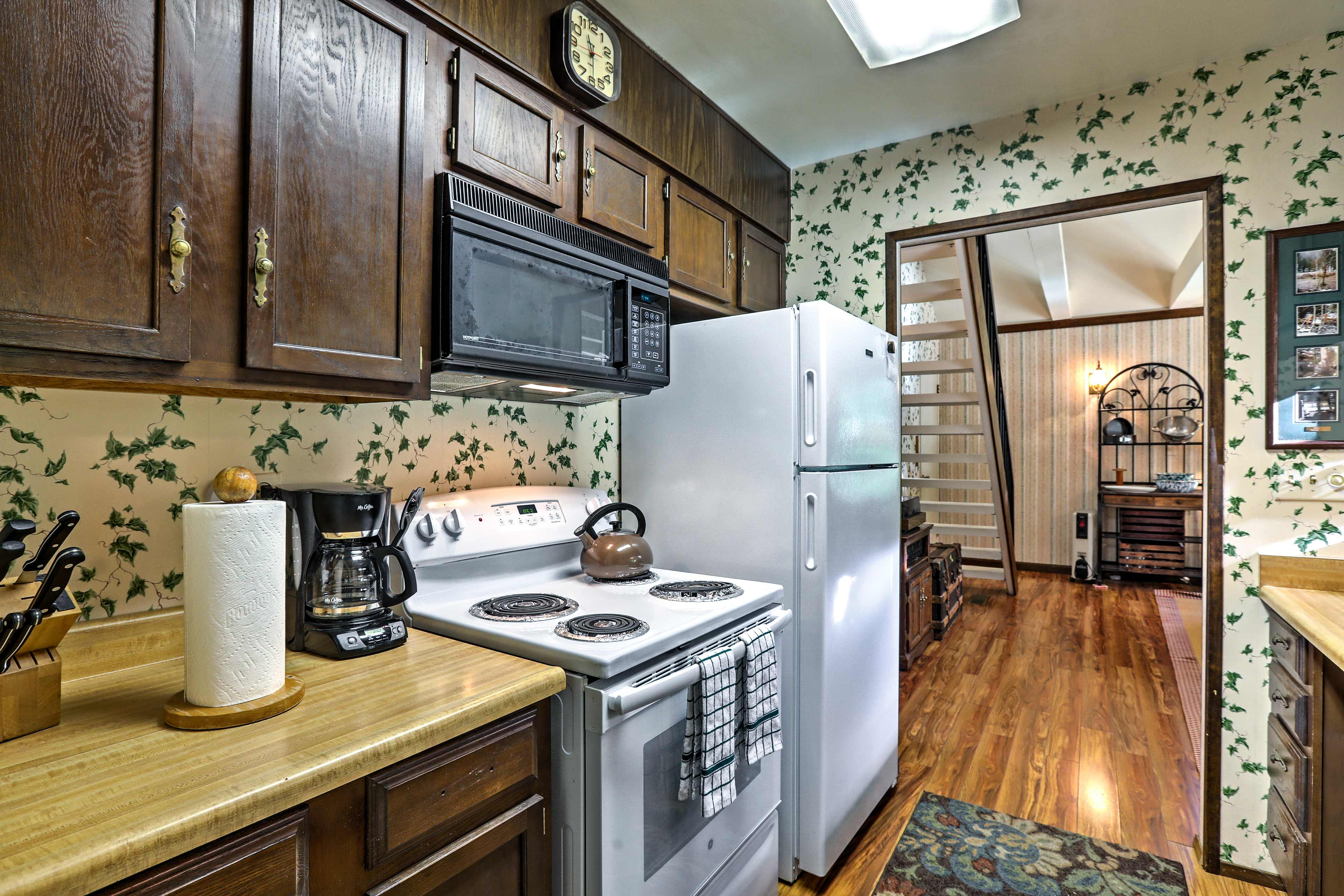 You'll find natural wood cabinetry and all updated appliances here.