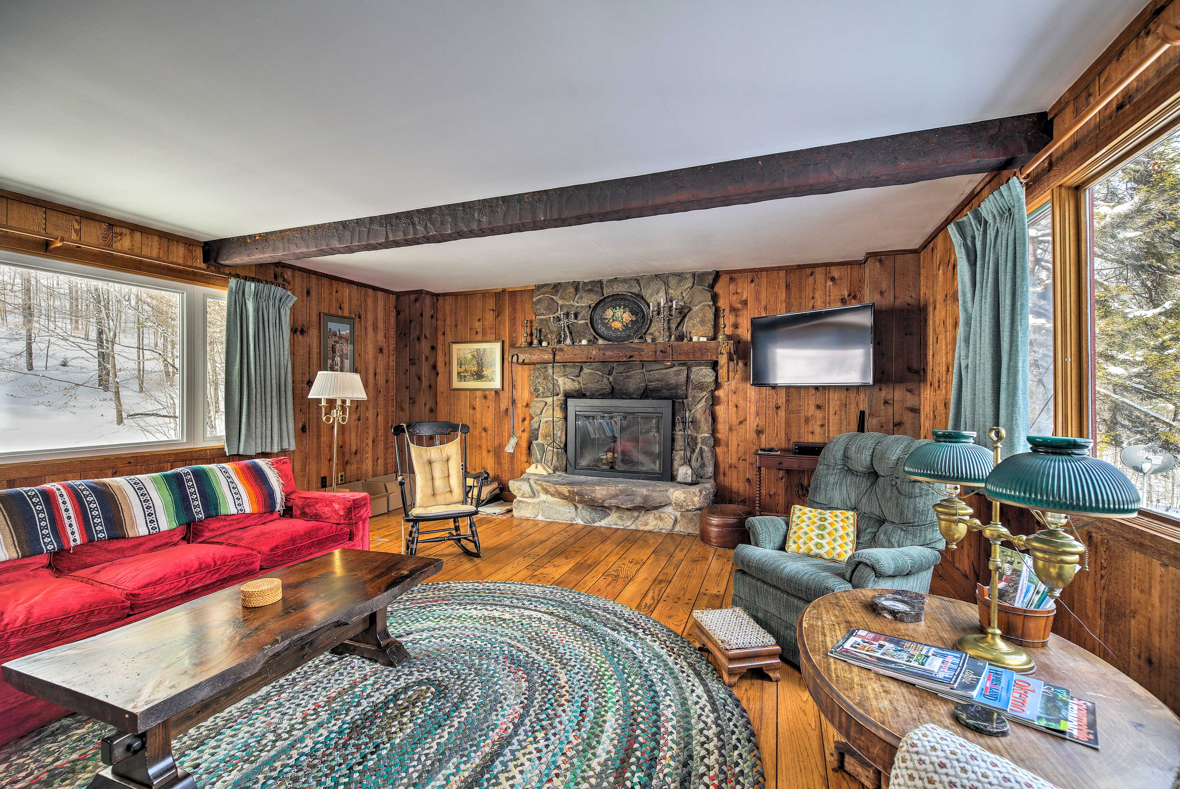Eliminate your winter chill in front of the Fieldstone wood-burning fireplace.
