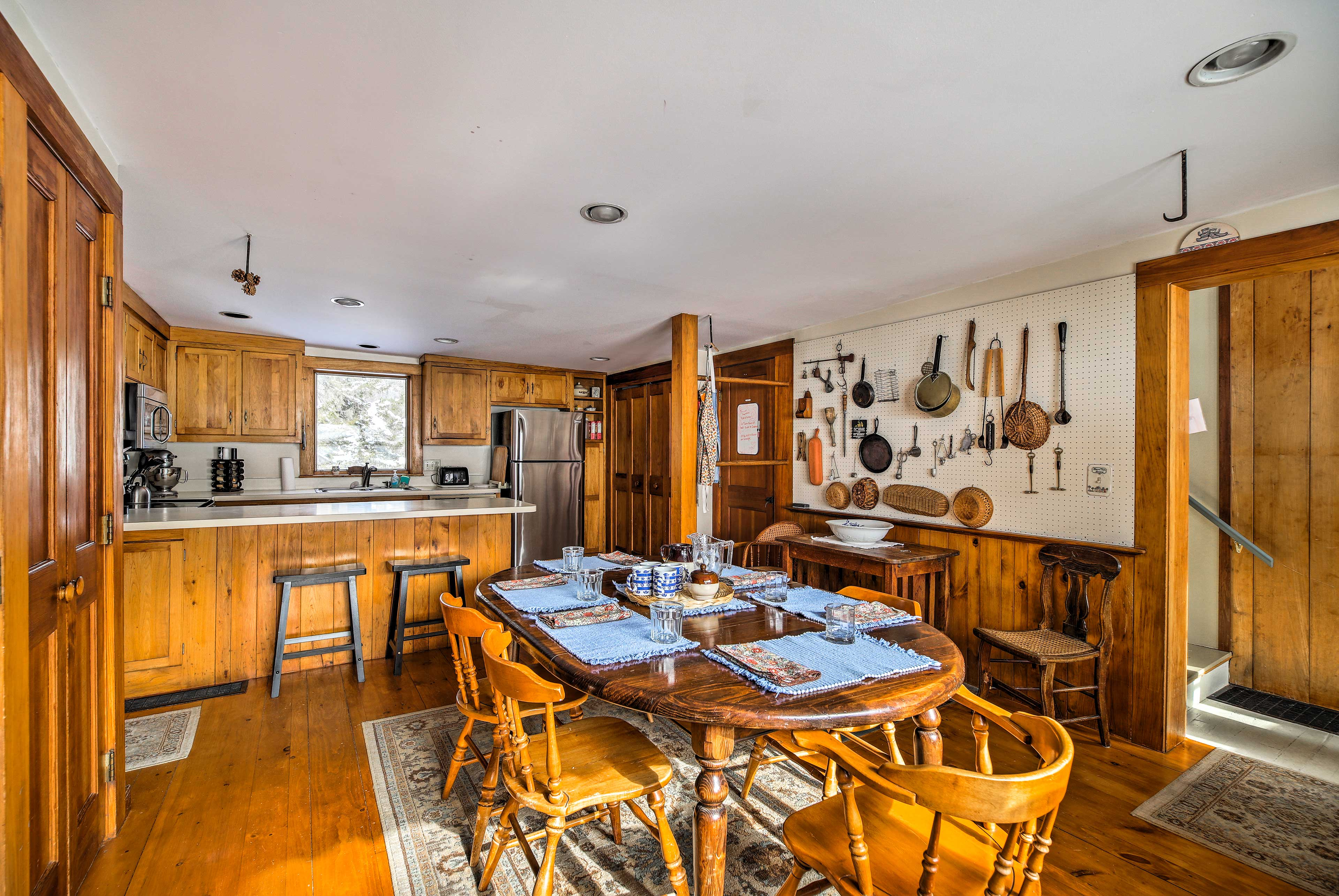 With wooden accents and a rustic feel, this kitchen transports you back in time.