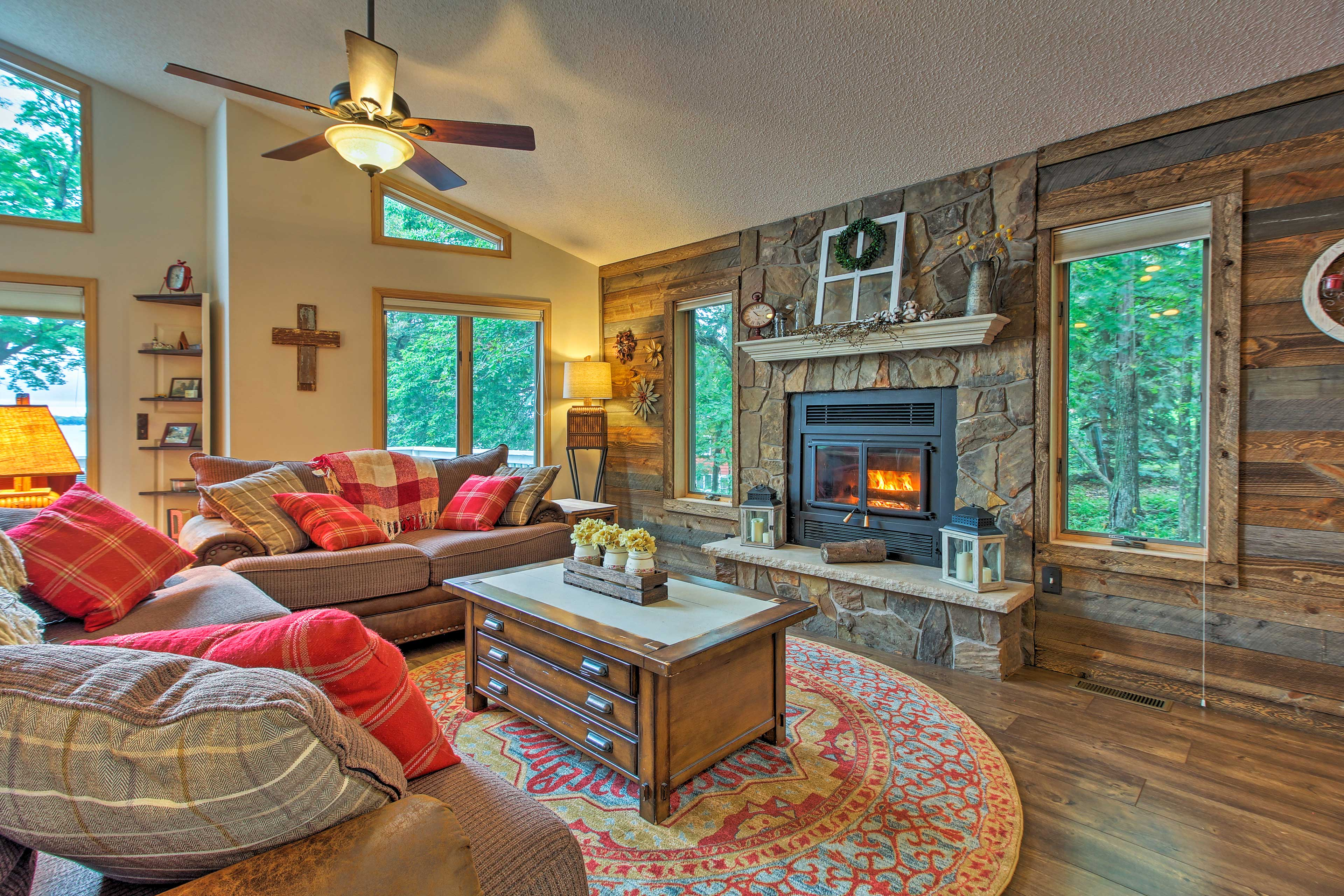 Warm up by the wood-burning fireplace on the main floor.