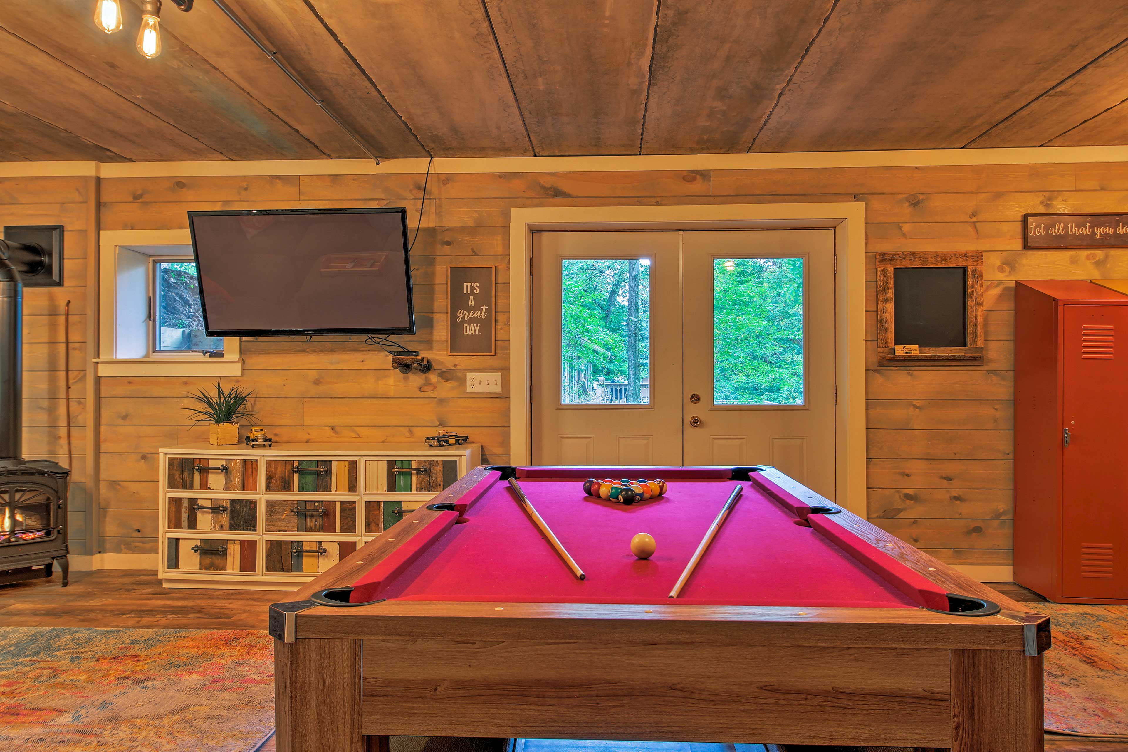 Challenge a friend to a quick round of pool.