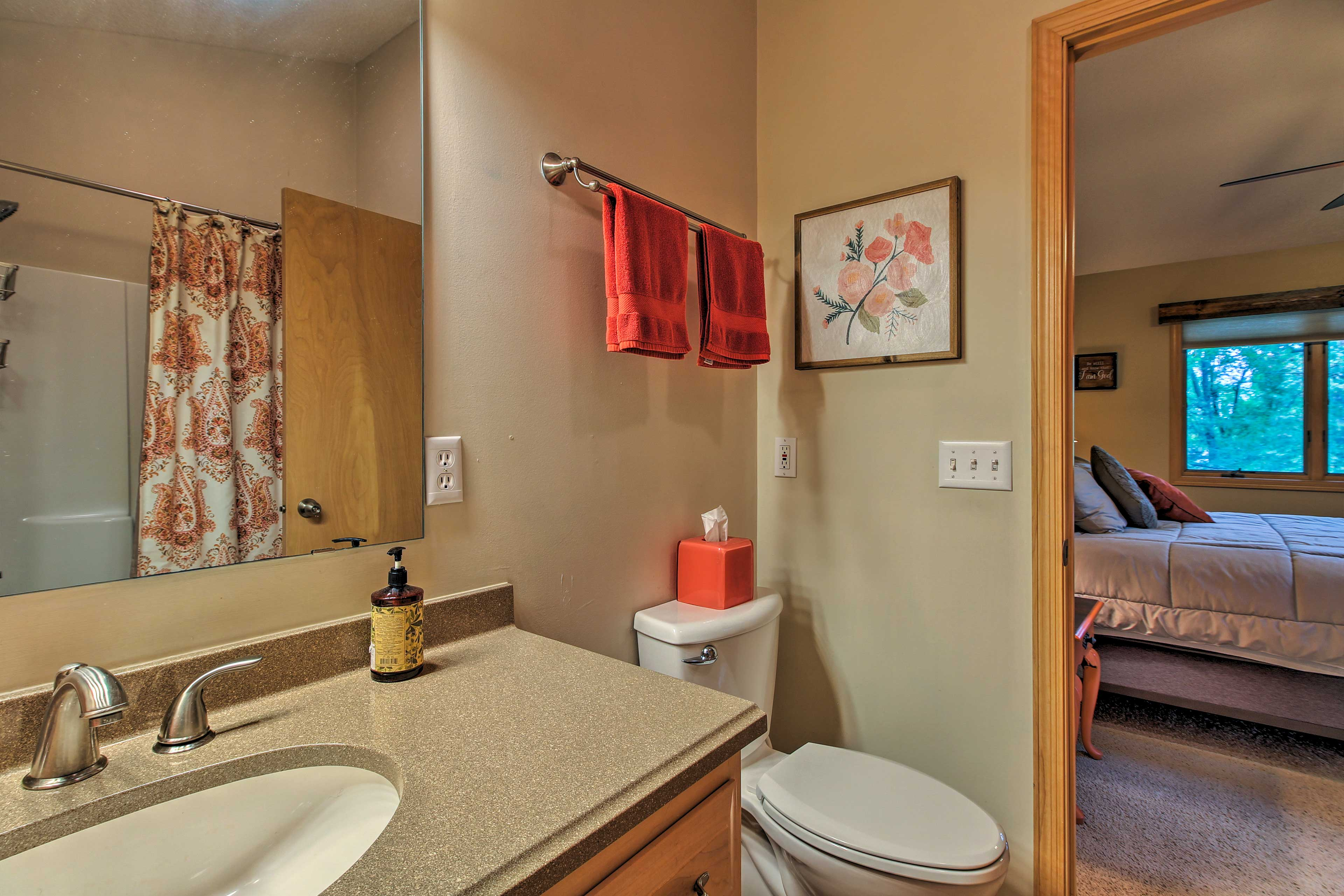 This home comes stocked with towels, linens, bath soap, and other essentials.