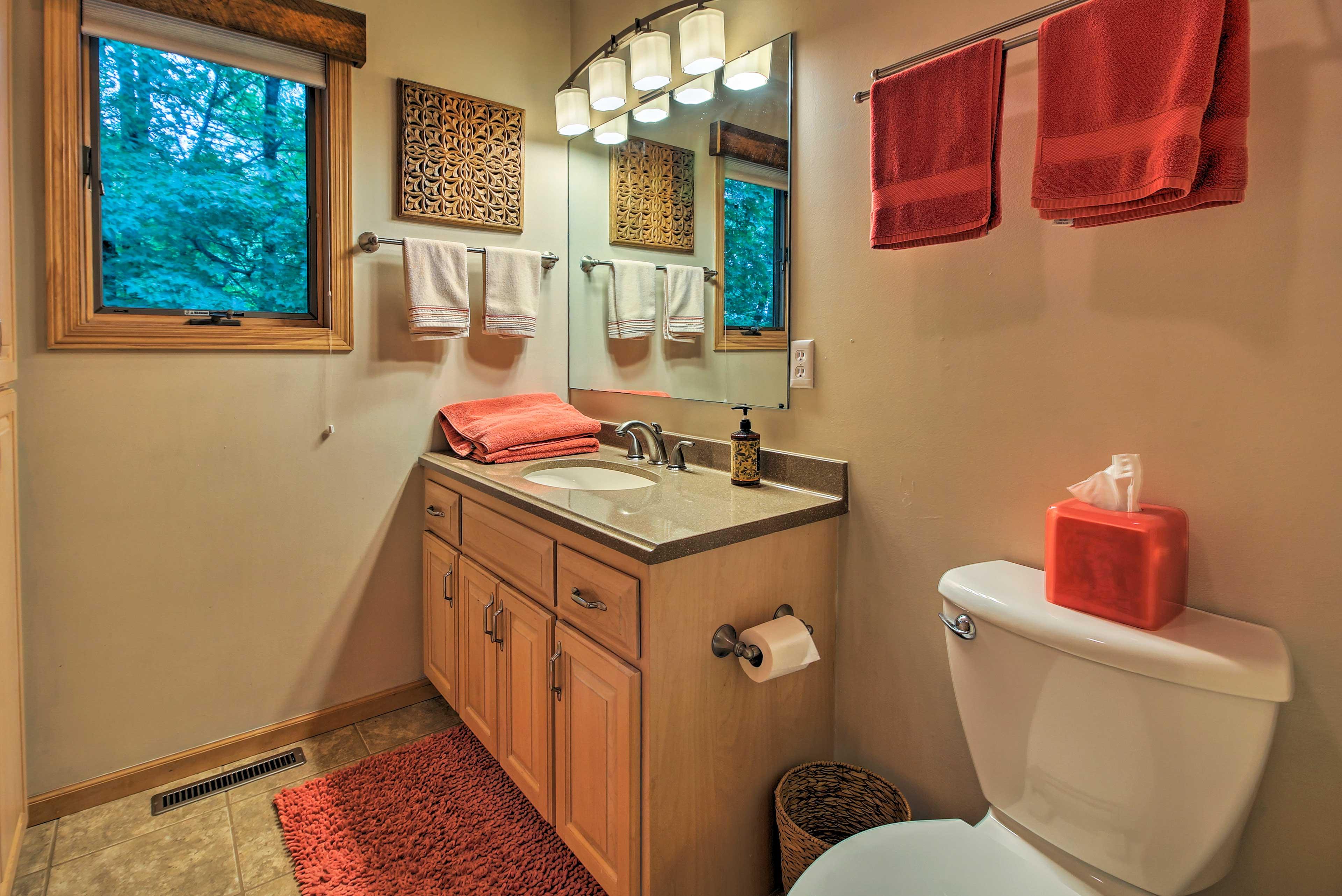 Rinse off in the en-suite master bathroom.