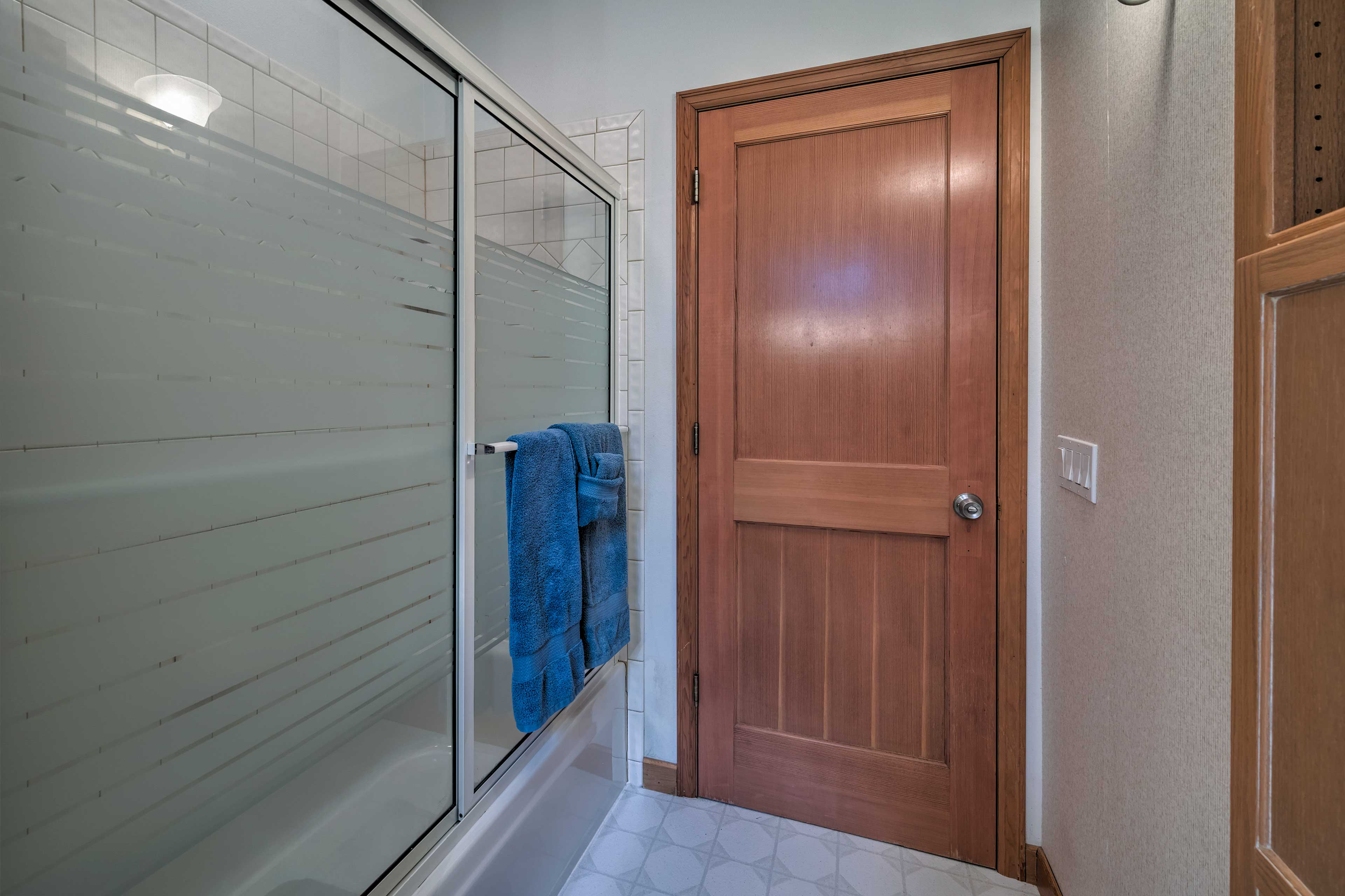 Wash your day away in the walk-in shower.