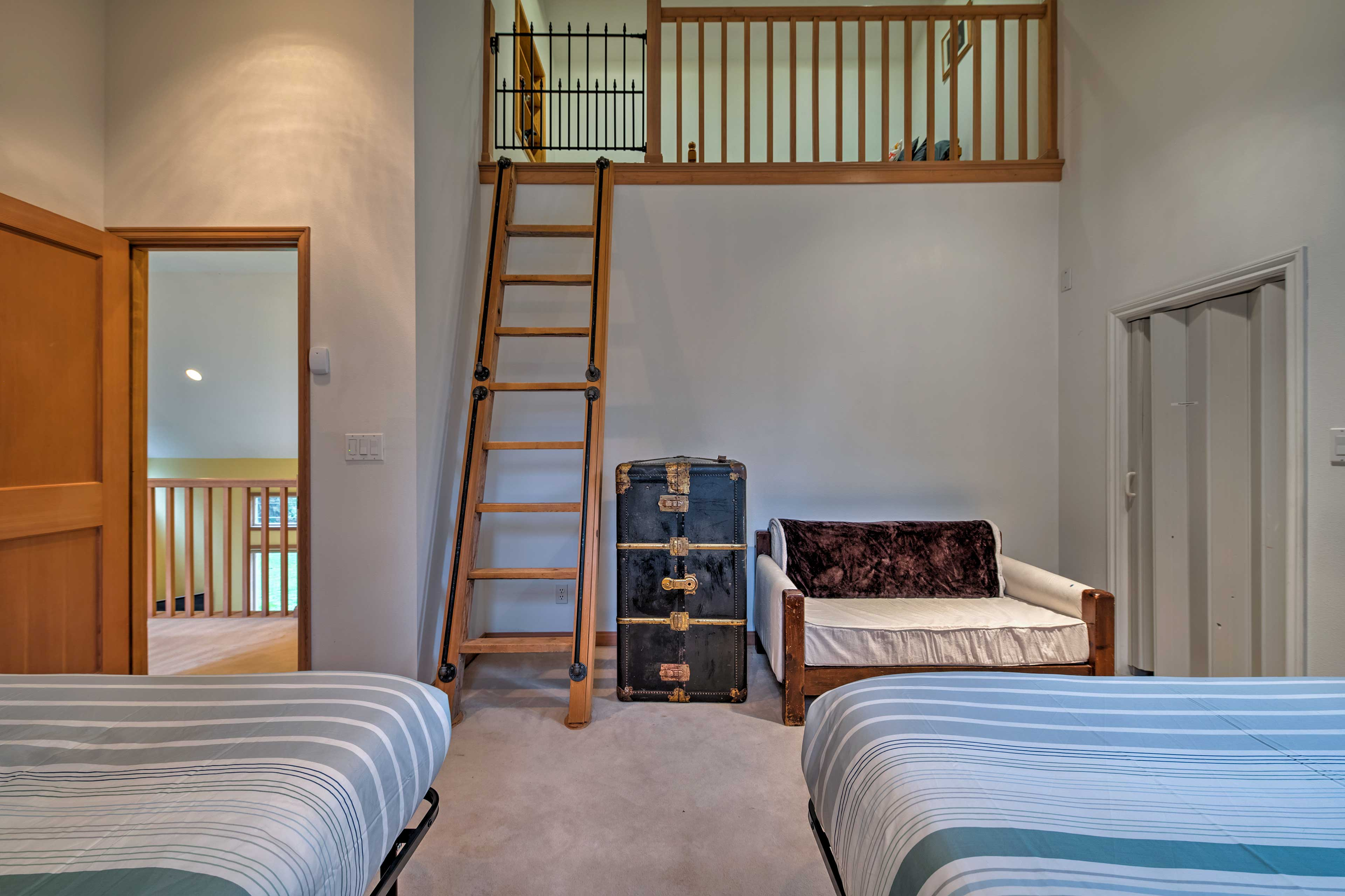 Find a loft up the stairs, making for a unique hideaway.