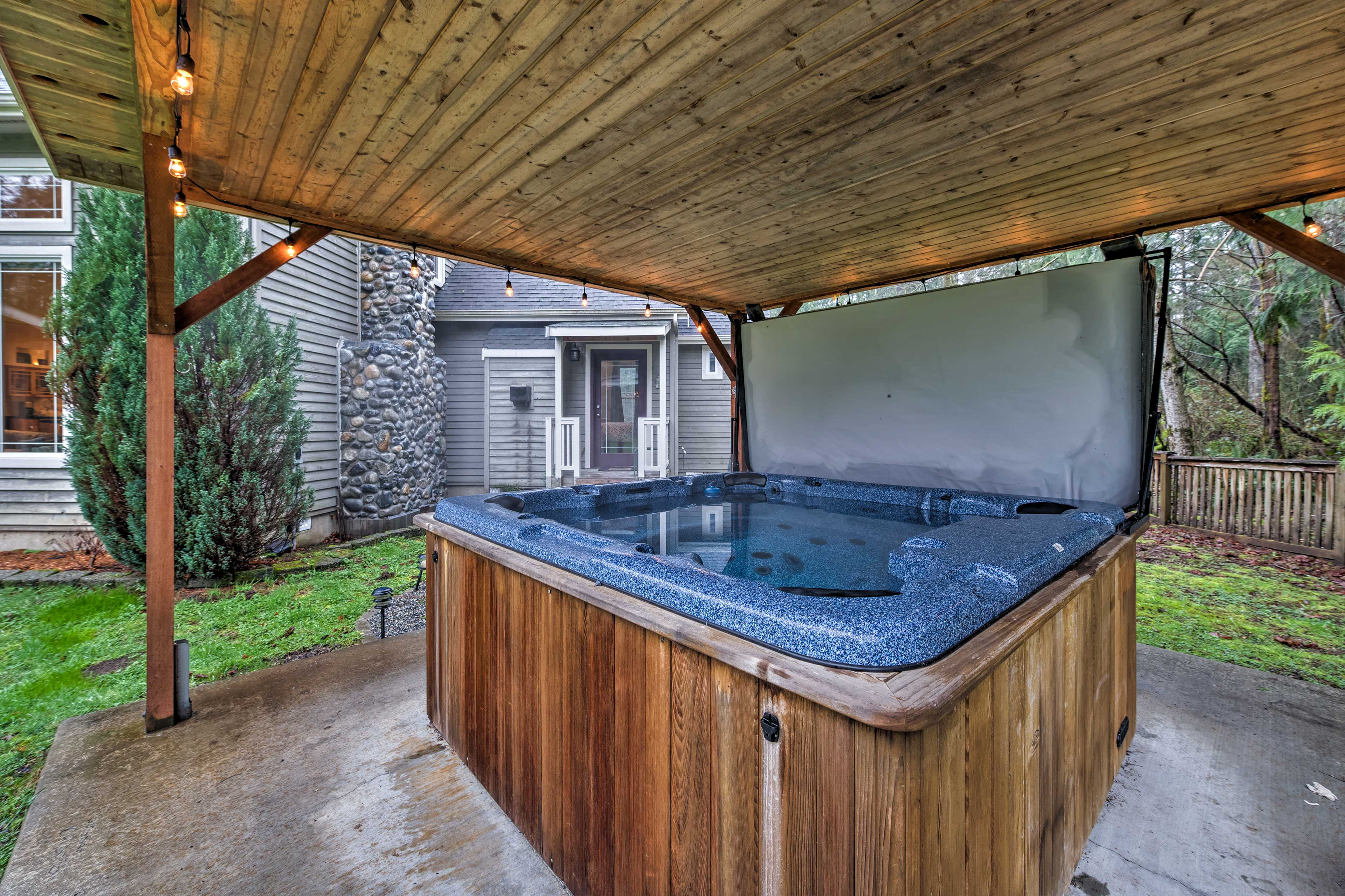 Soothe your sore muscles with a long soak in the hot tub.