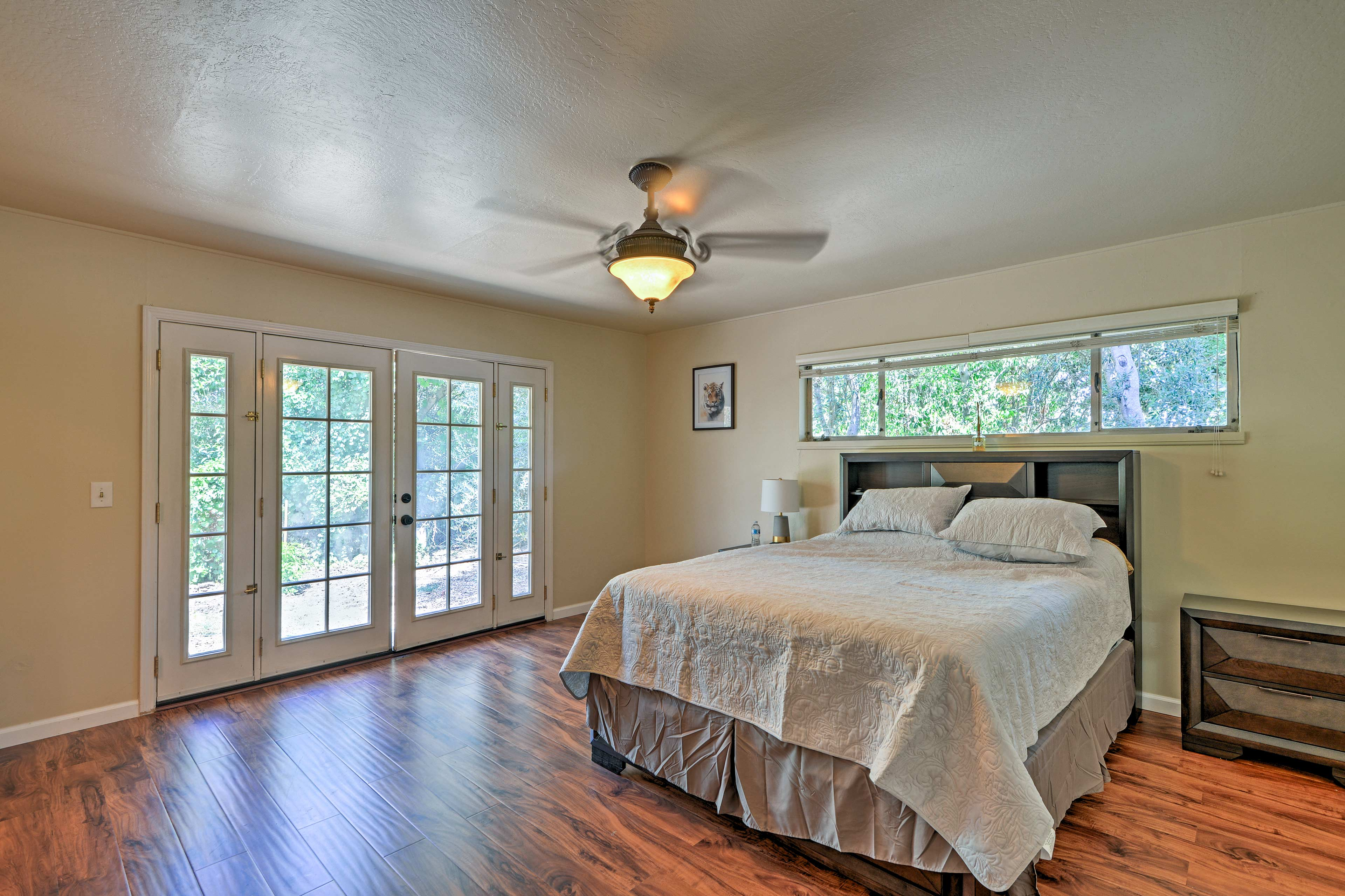 Drift off in the comfy queen bed in the master bedroom.