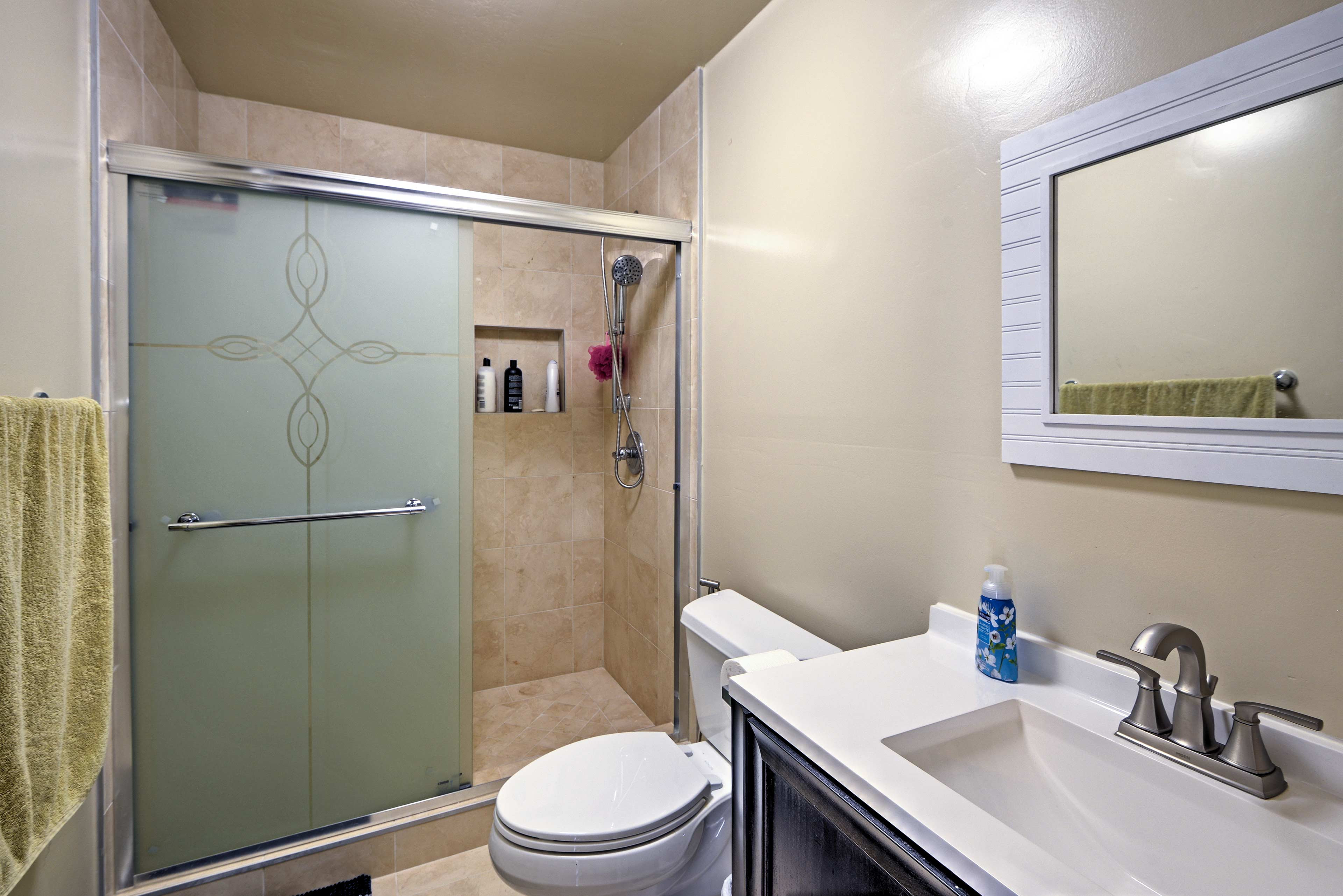 Get ready for a night out in the walk-in shower.