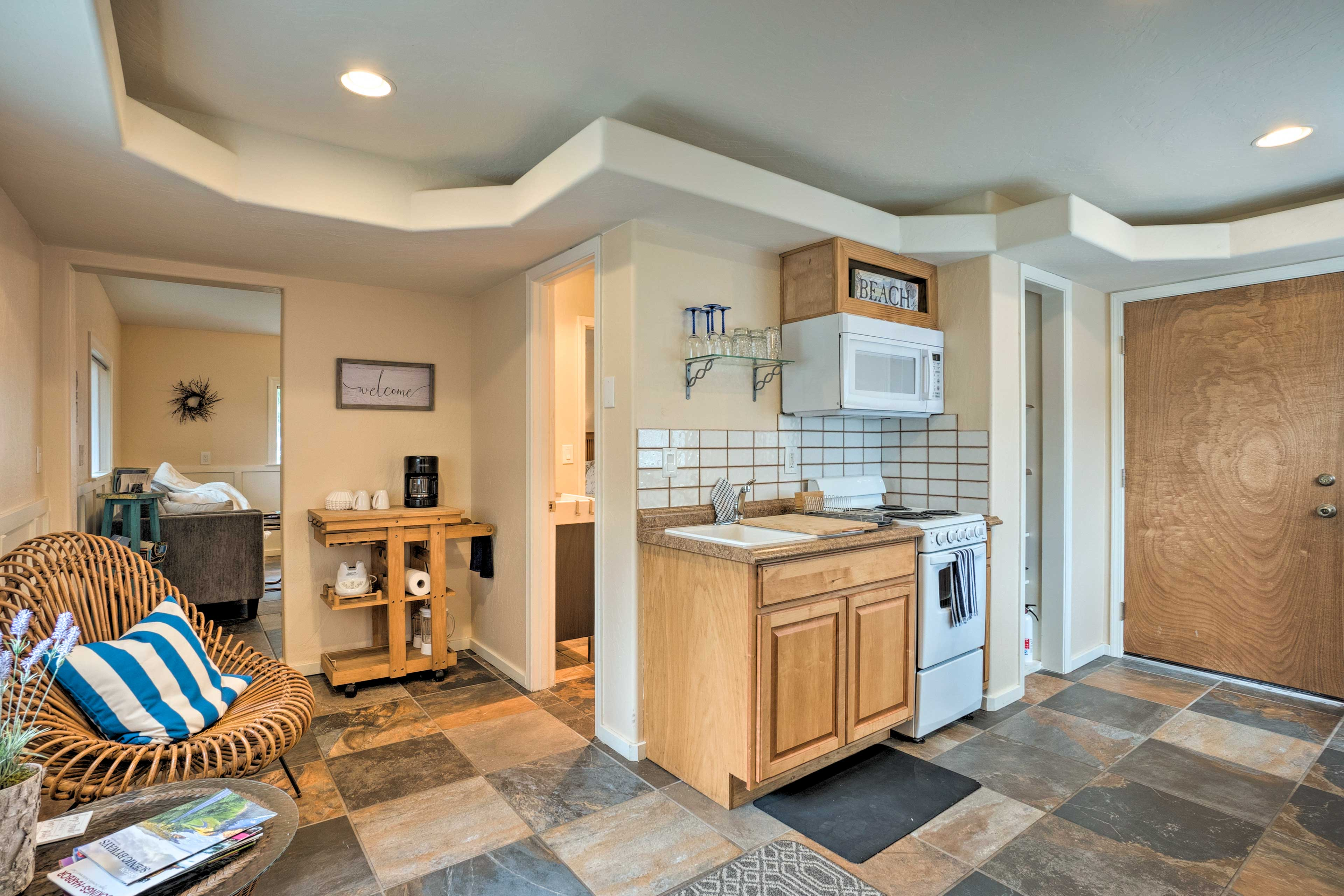 The well-equipped kitchenette features all your necessary appliances.