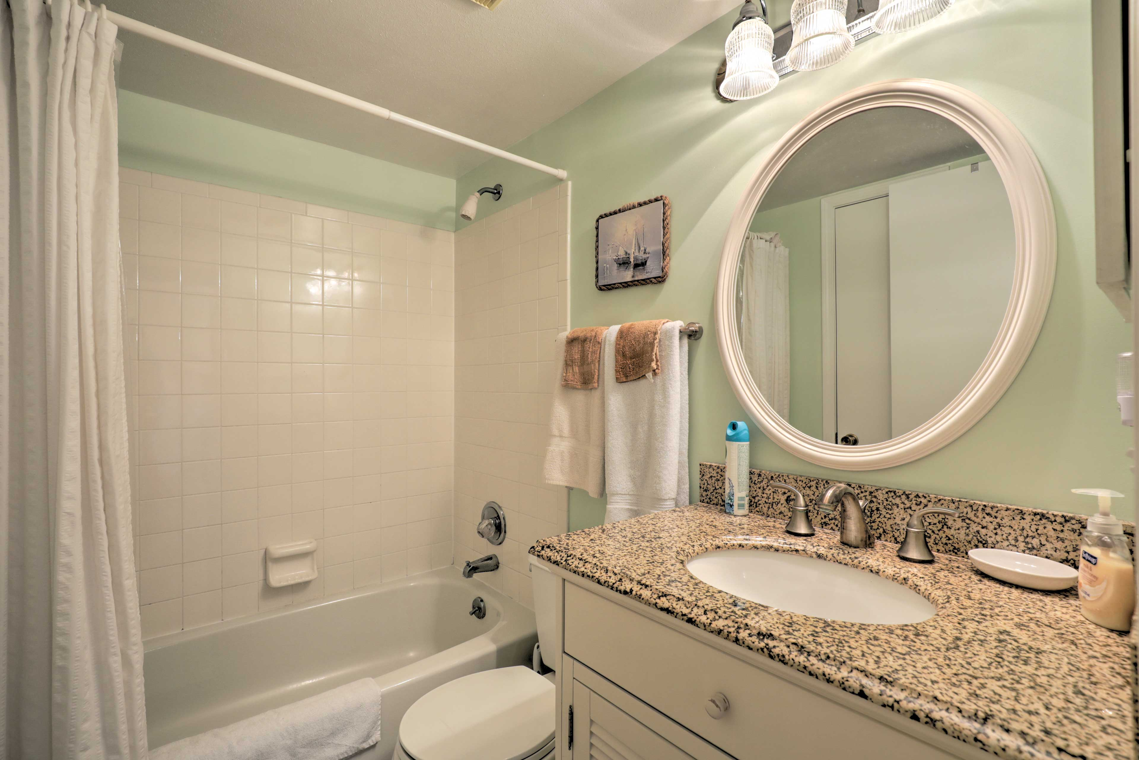 Rinse off in the shower/tub combo in the second bathroom.