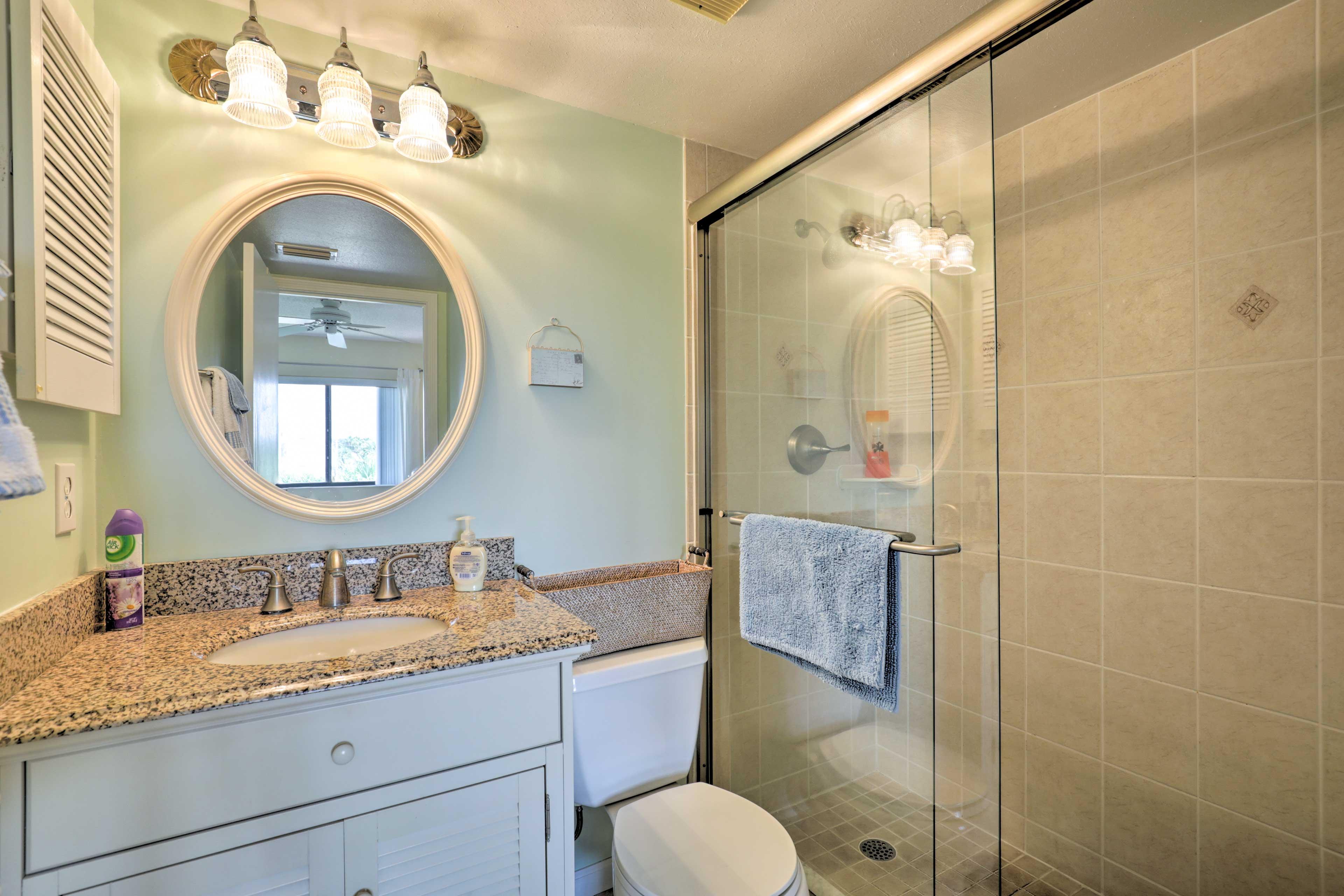 The en-suite master bath offers a walk-in shower.
