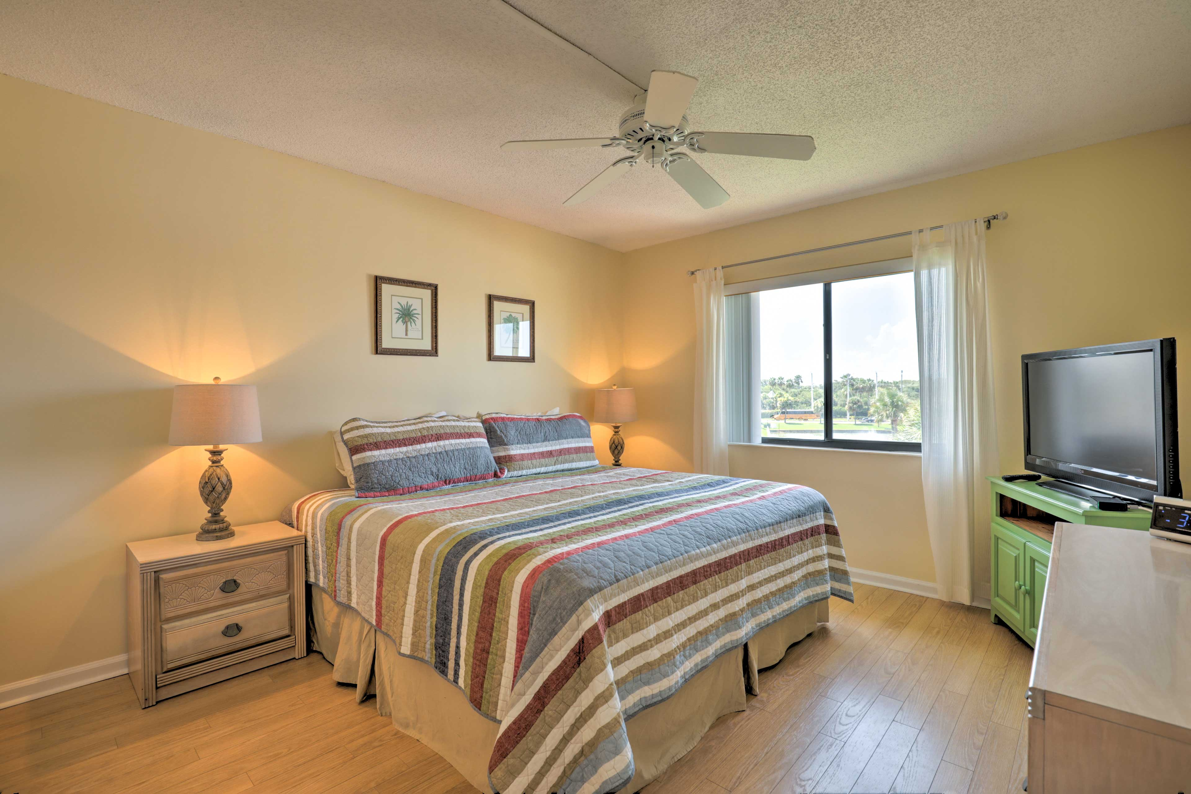 Fall asleep to a show on the 37-inch flat-screen Smart TV in the master bedroom.