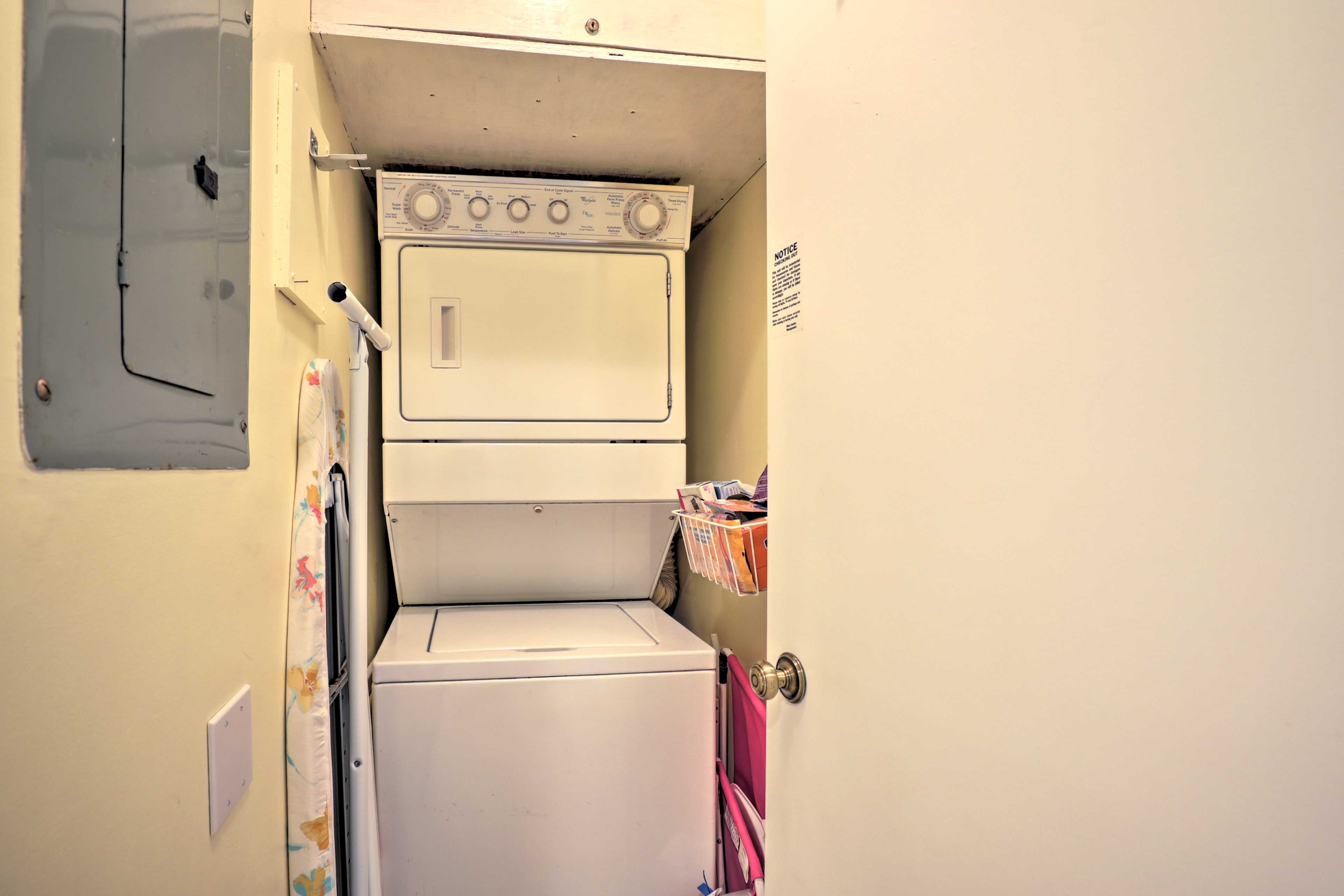 Keep clothes clean throughout your trip with in-unit laundry machines.