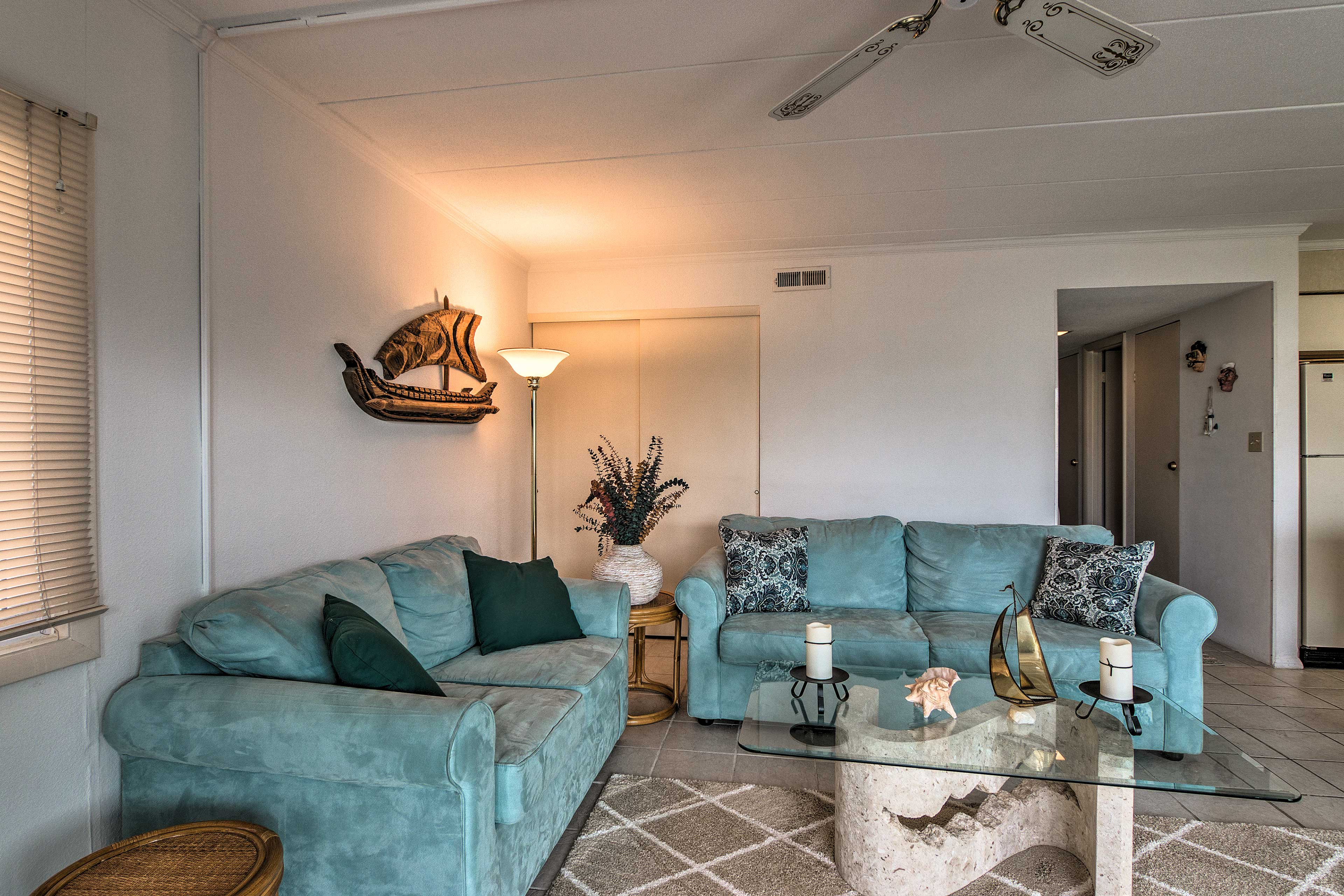 The living room offers plenty of seating for your whole travel group.