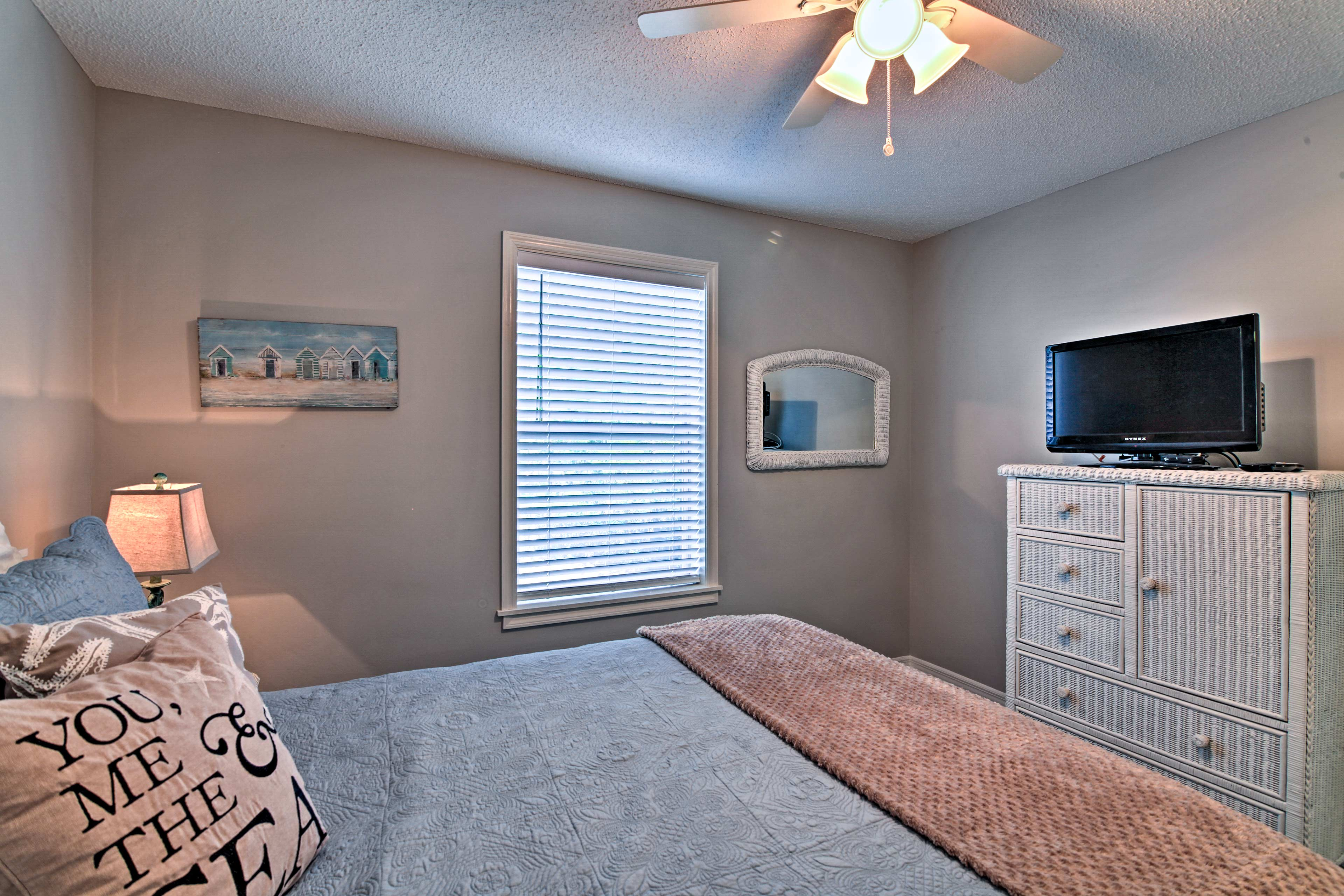 Dream of tomorrows adventures in this bedroom complete with a flat-screen TV.