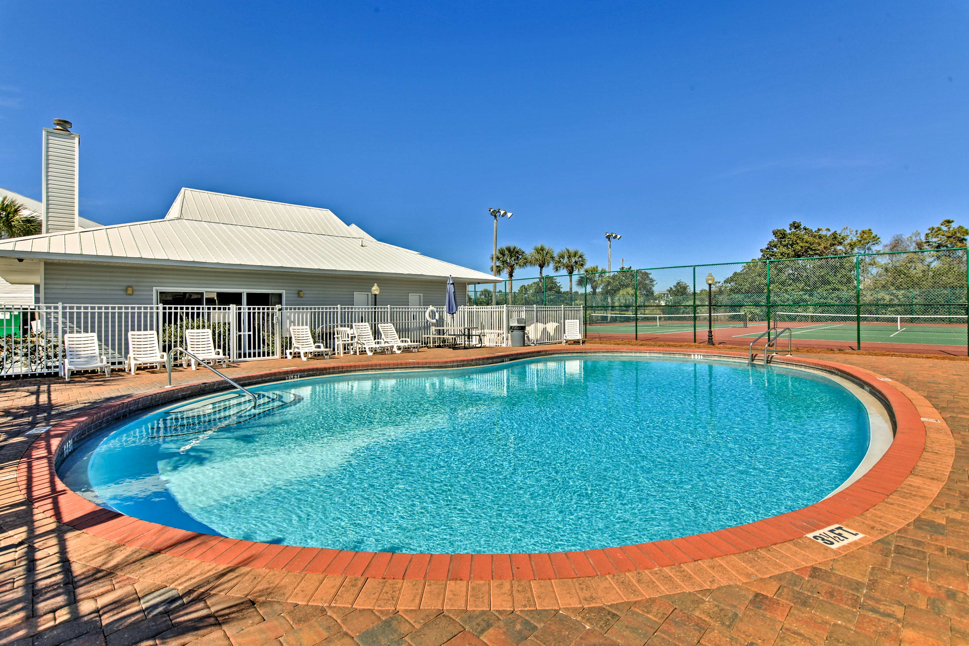 Keep up your fitness and swim some laps in the outdoor pool.