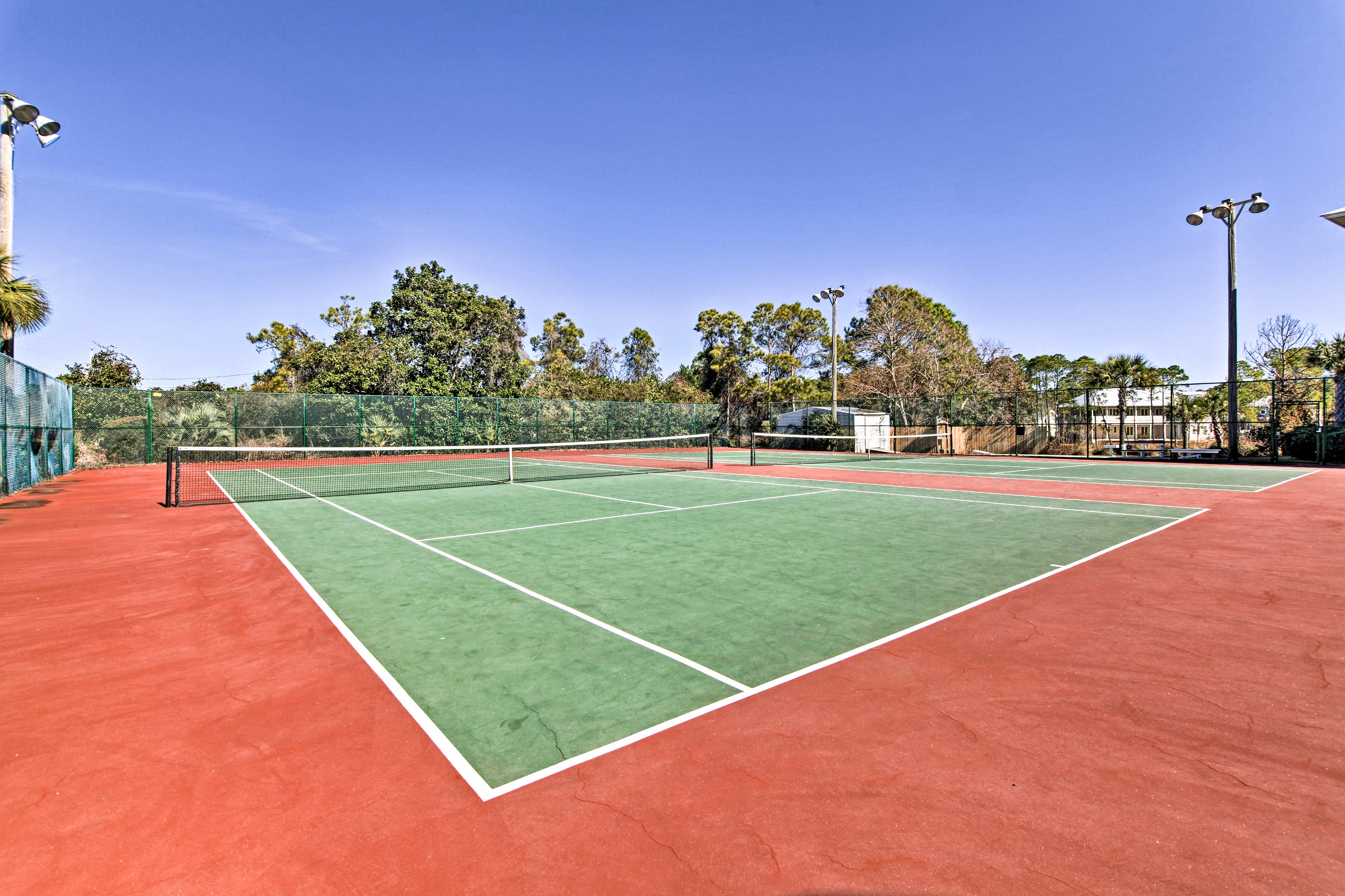 Challenge a companion to a round of tennis.