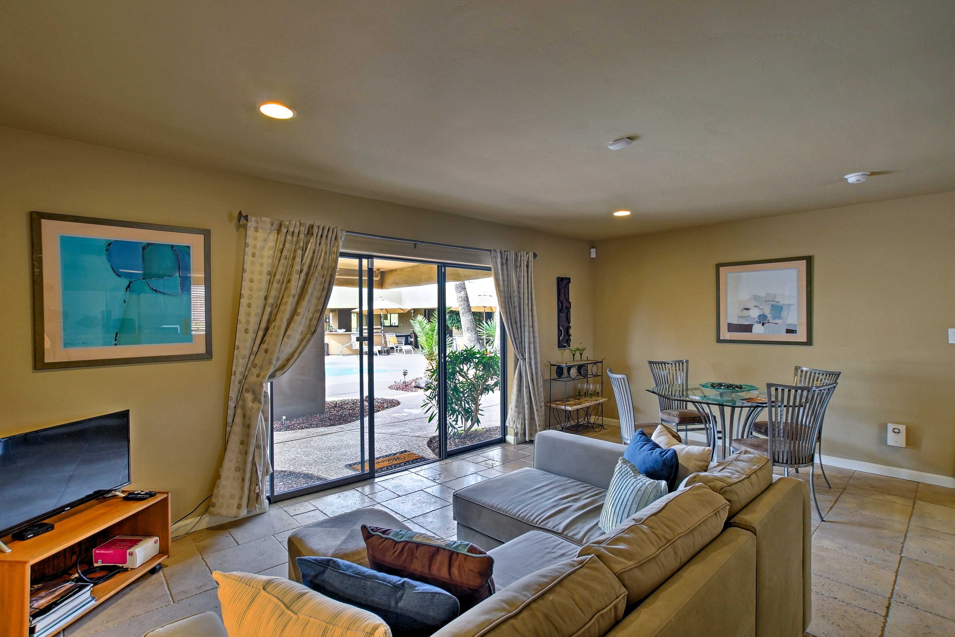 The open floor plan gives the home a spacious feel.