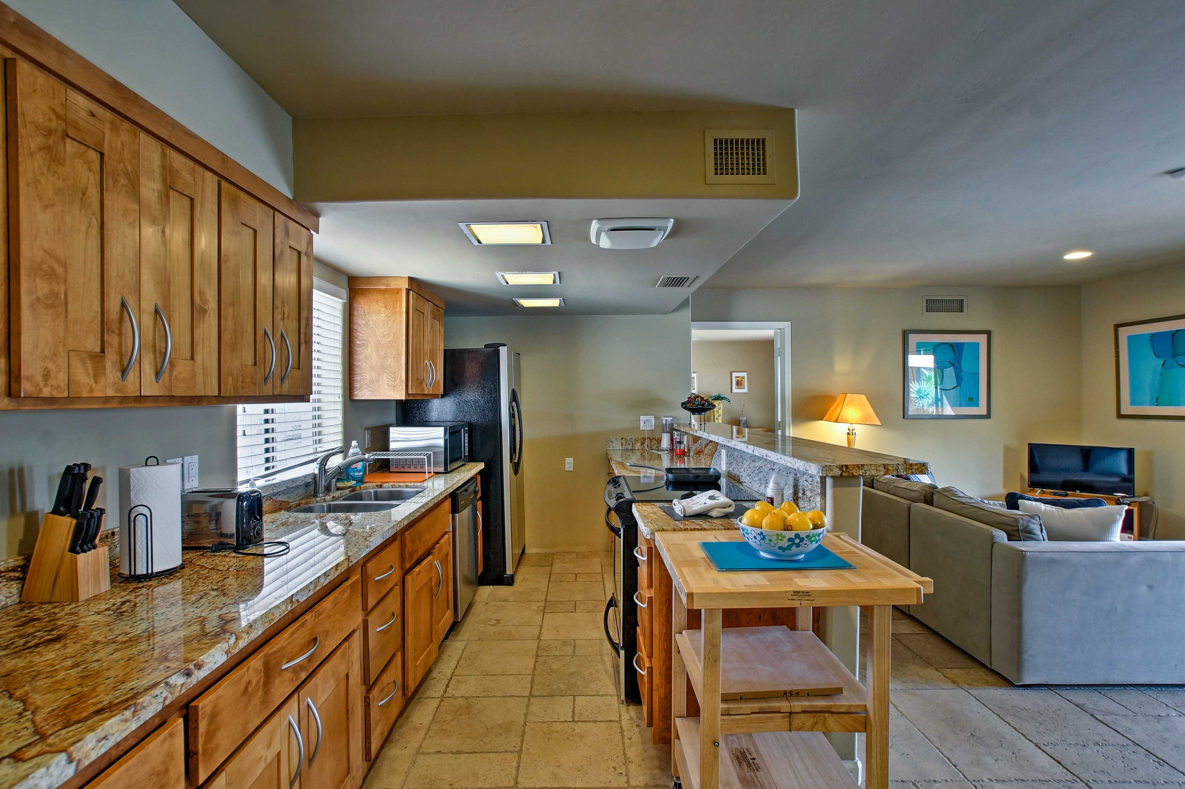 Whip up something delicious in the fully equipped kitchen.