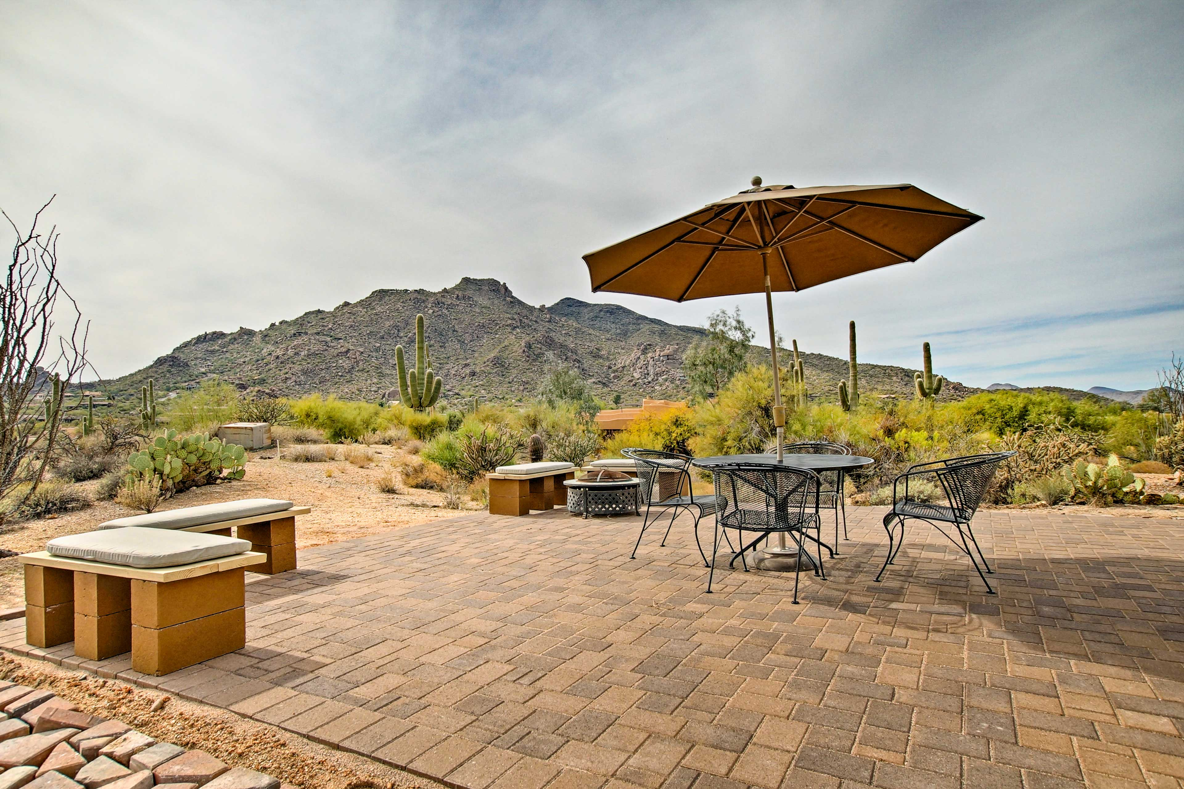 Enjoy a meal on the furnished patio.