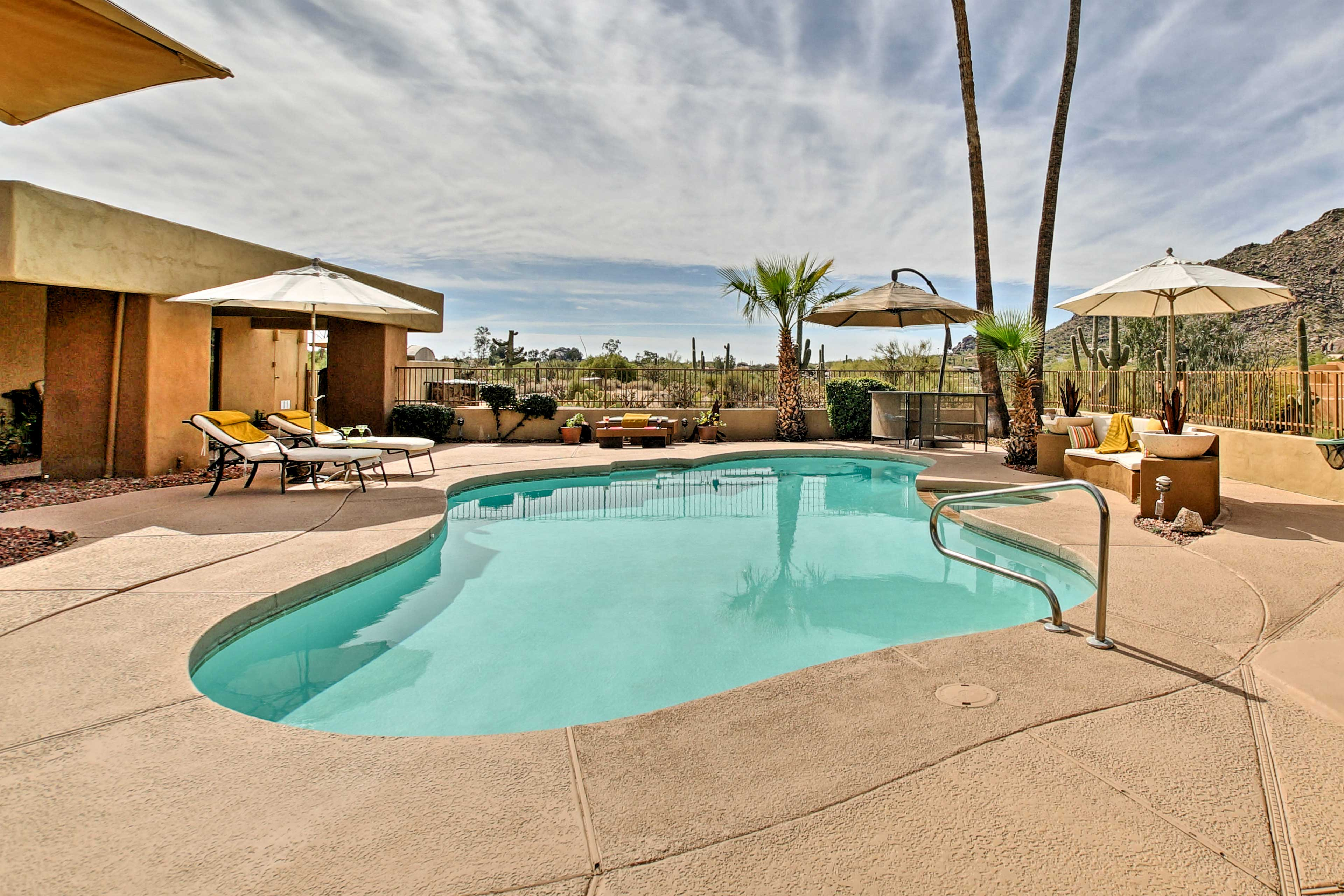 Take a dip in the oasis pool.
