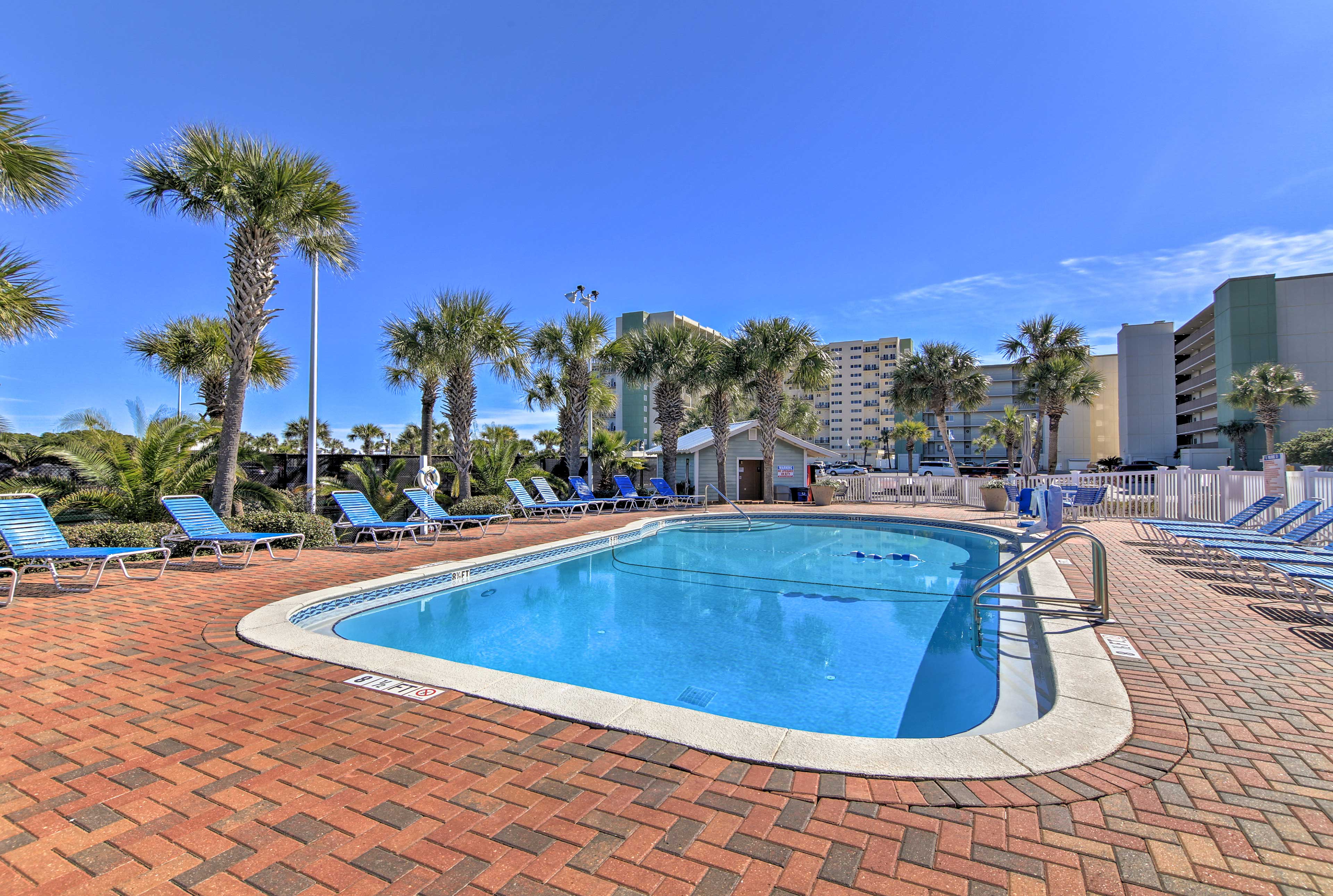 Spend leisurely days soaking up the sun by the pool!