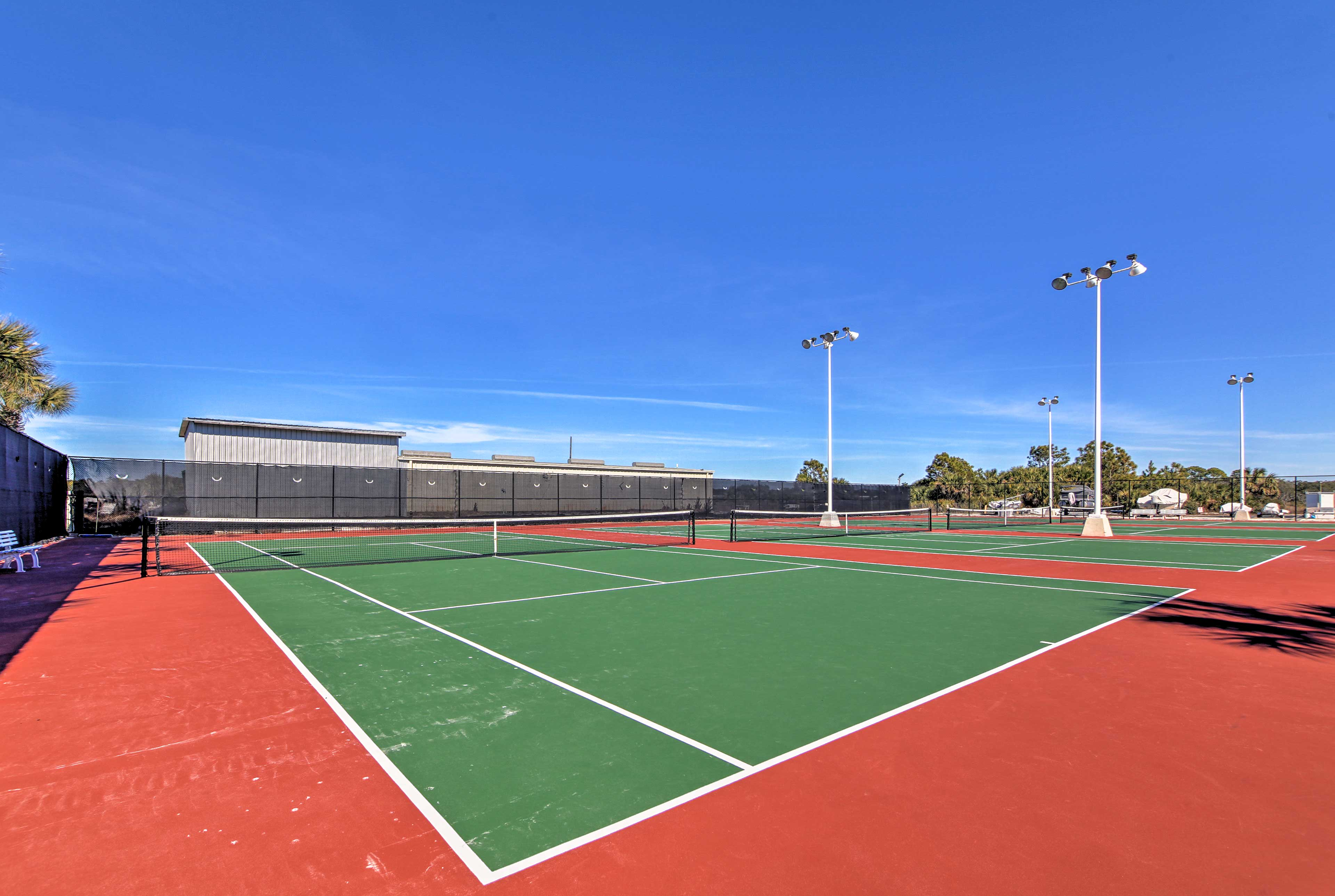 Play a game of tennis during downtime.