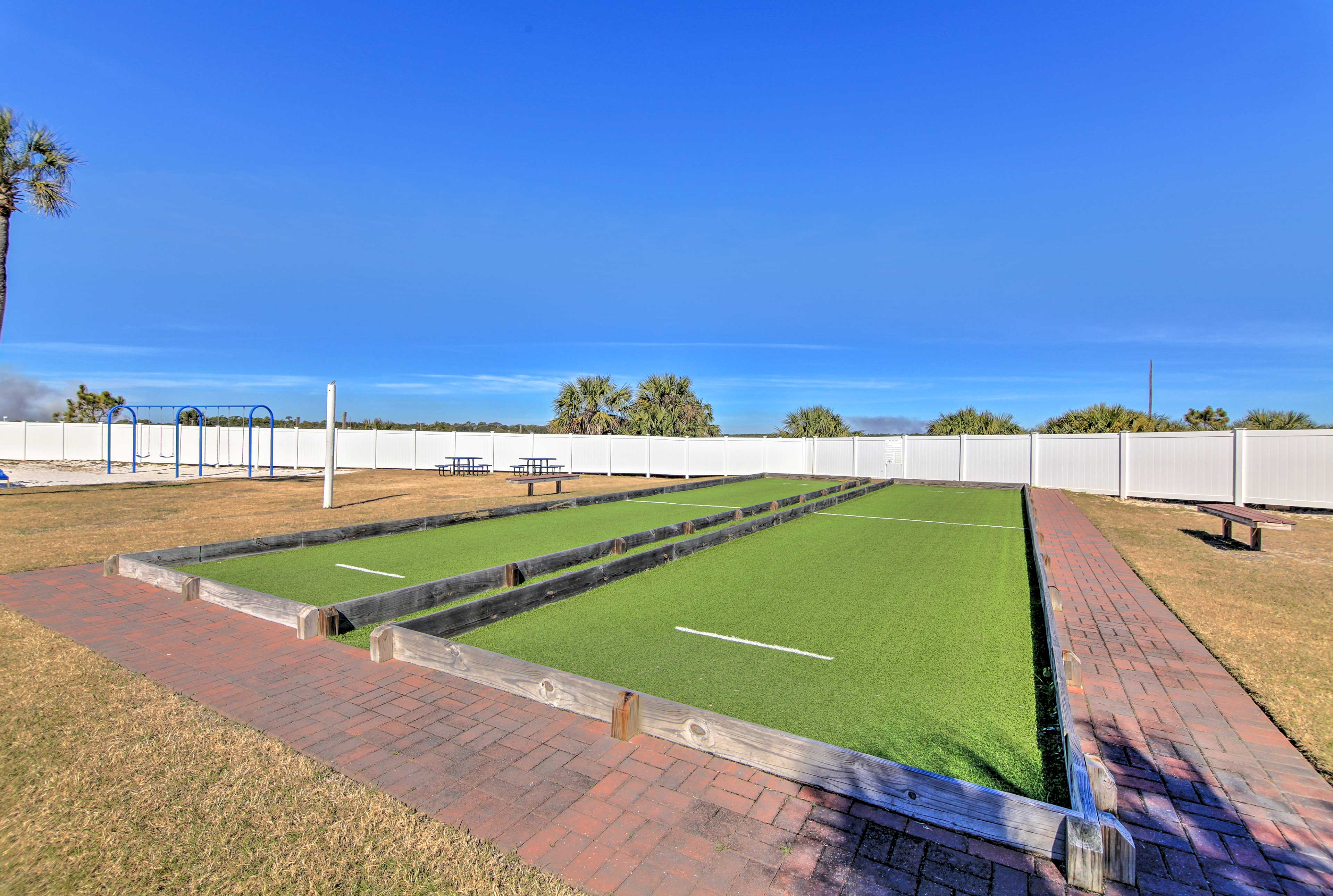 The condo also offers access to a bocce ball court!
