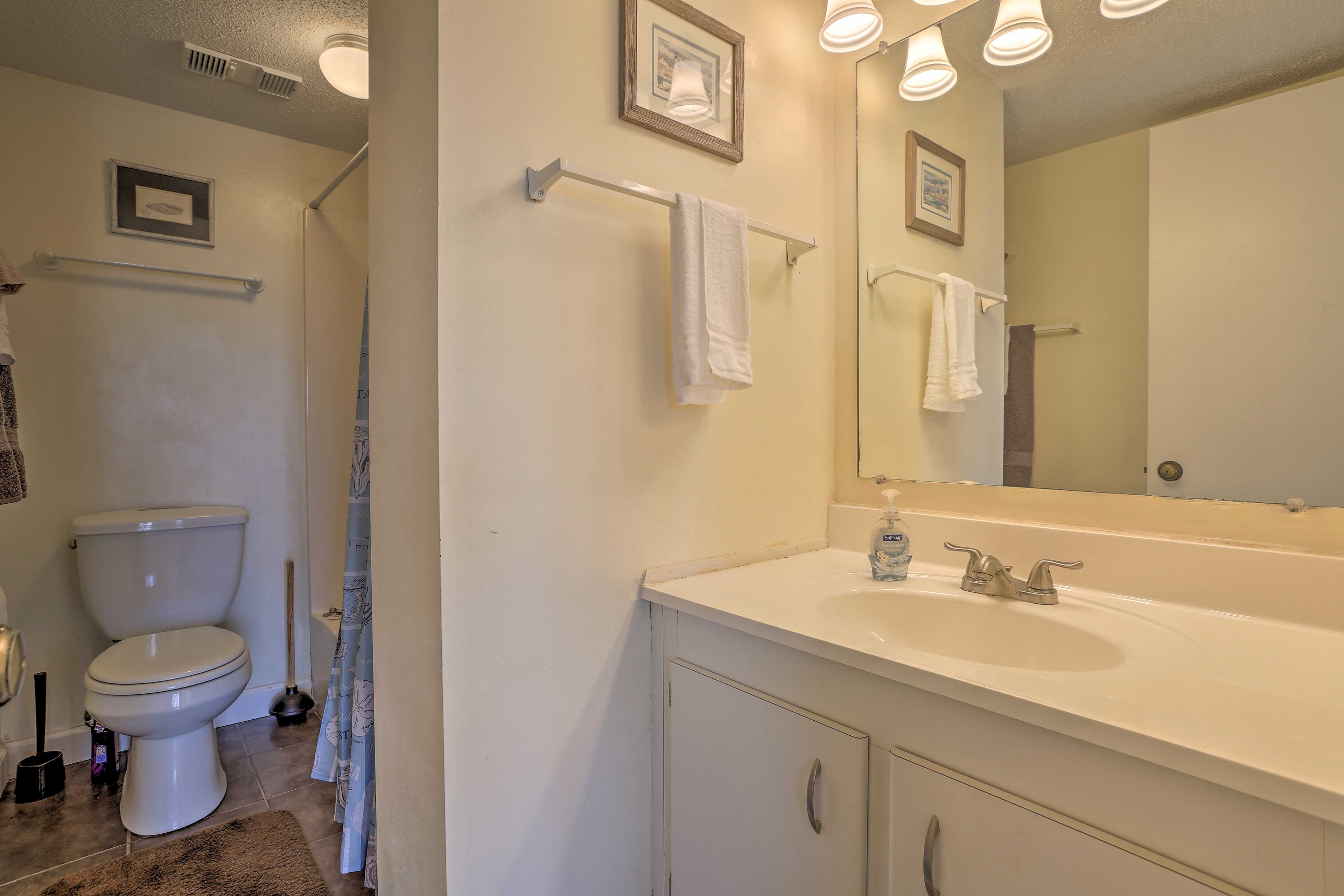 The en-suite bathroom includes a shower/tub combo and mirrored vanity.