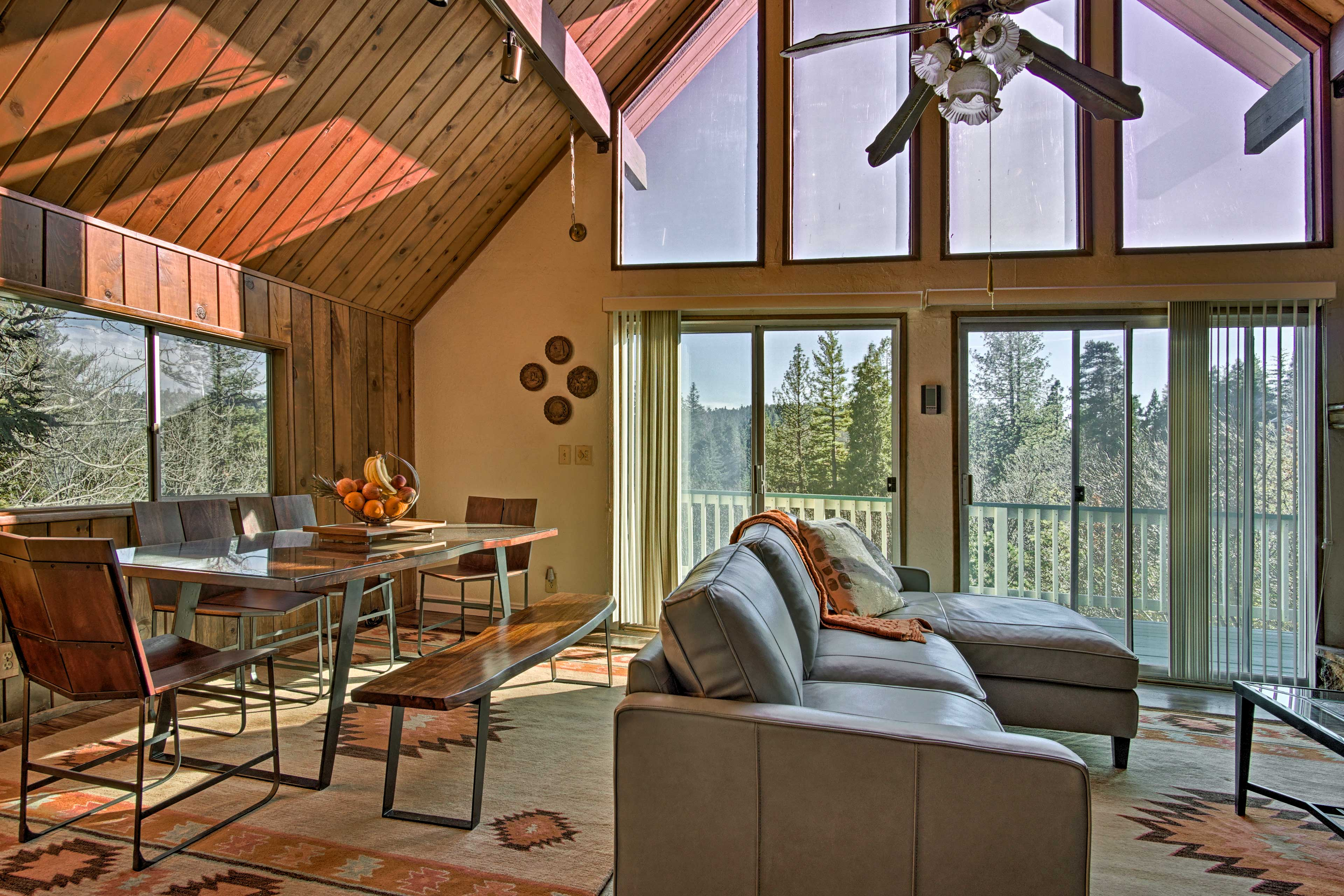 Share home-cooked meals under natural light flooding through A-frame windows.