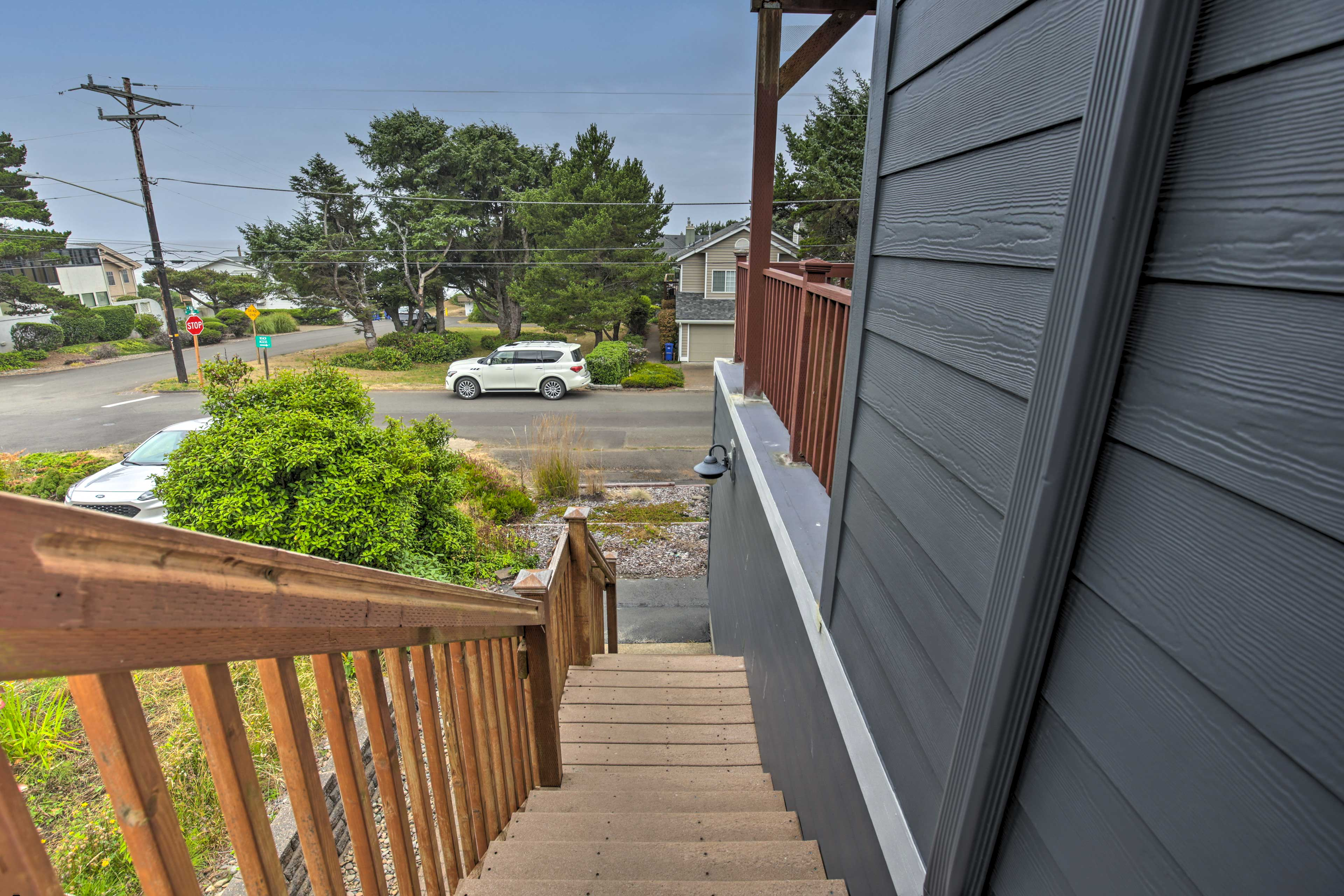 Make your way up the stairs to your home-away-from-home.