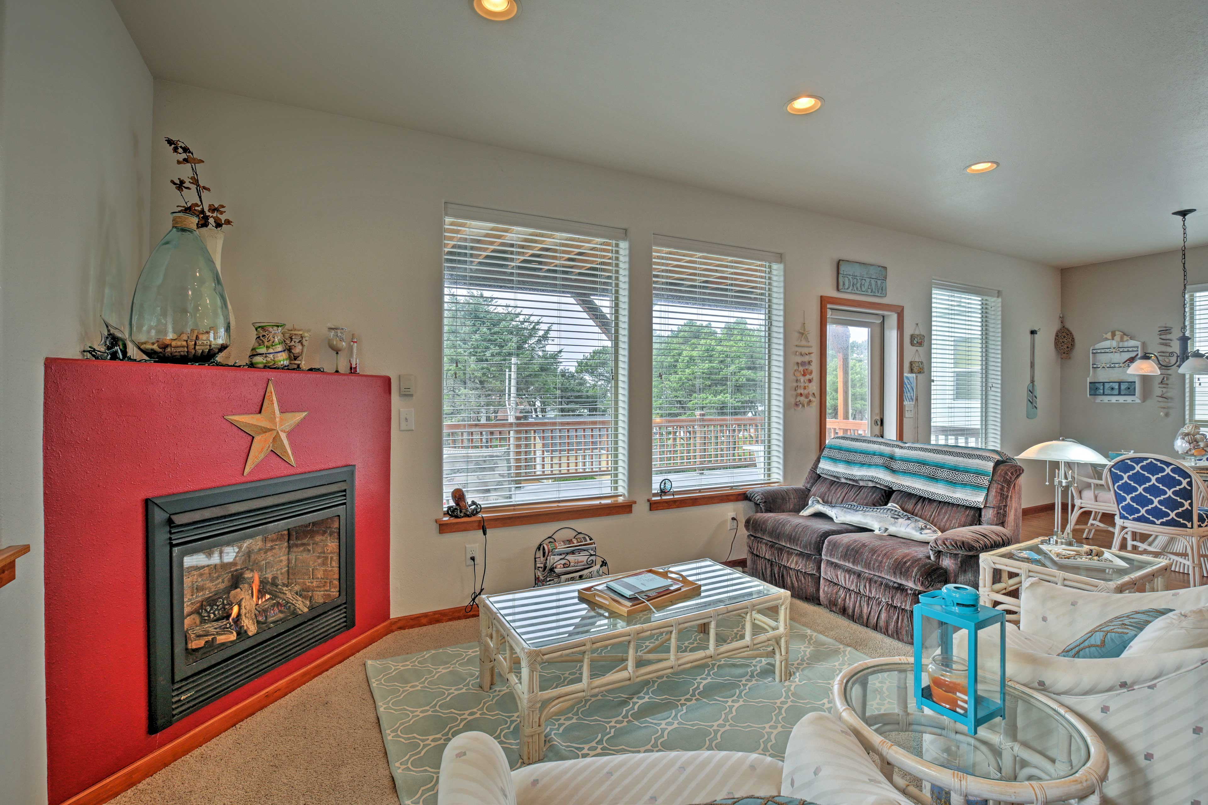 Cozy up inside next to the electric fireplace of this 2-bedroom, 2-bath house.