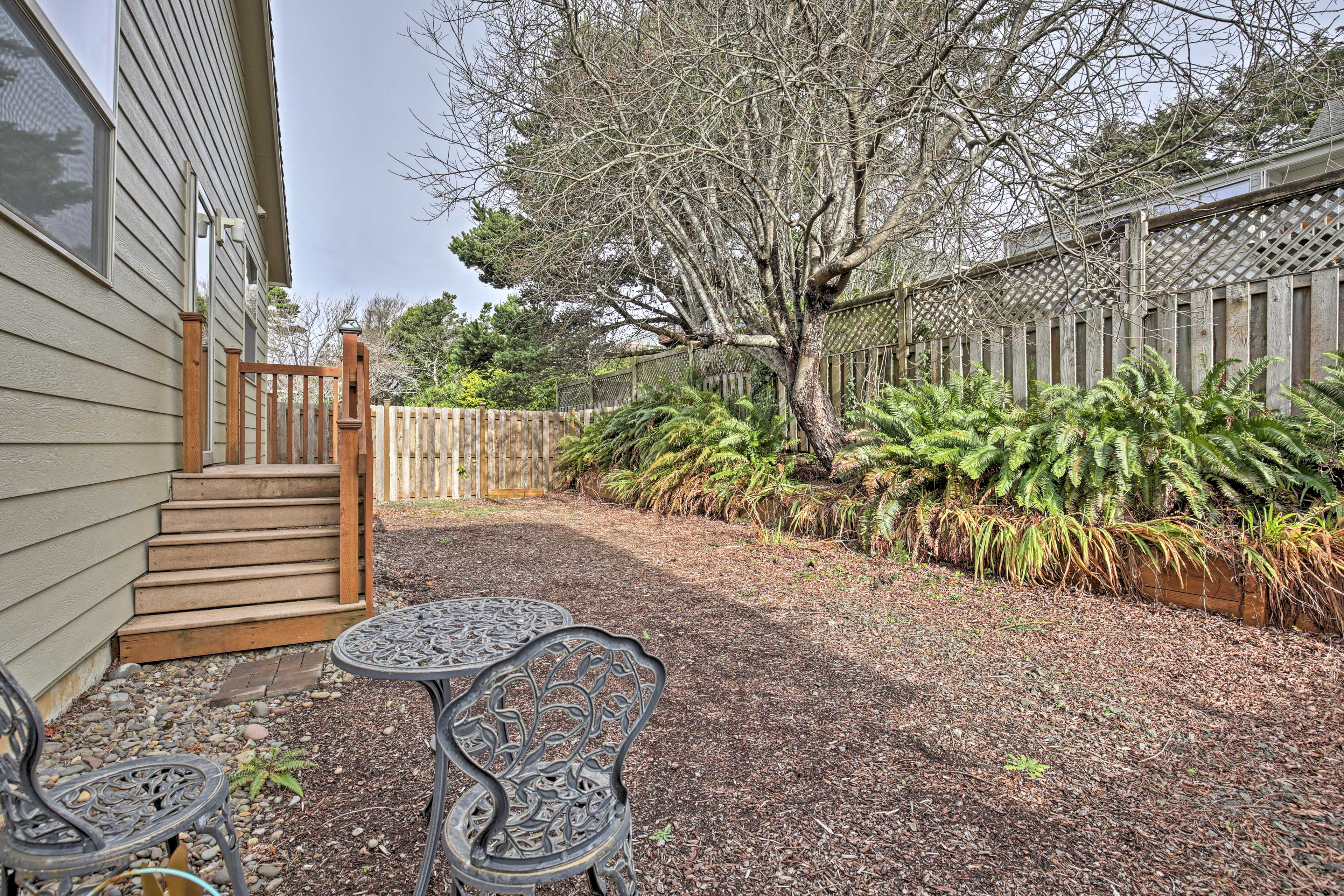 A private yard offers a quiet place to relax.
