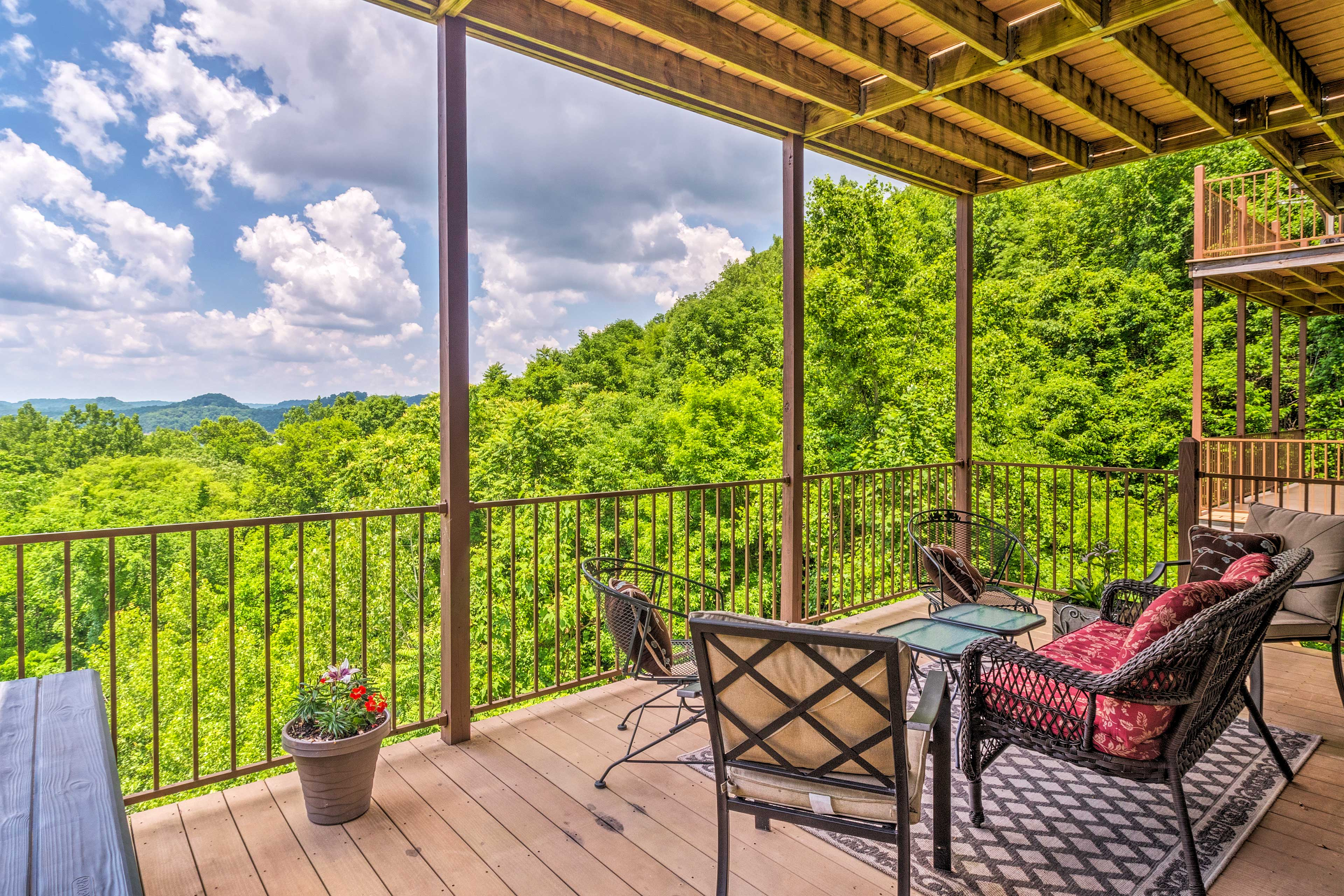 This beautiful vacation rental overlooks the forest of Center Hill Lake, TN.
