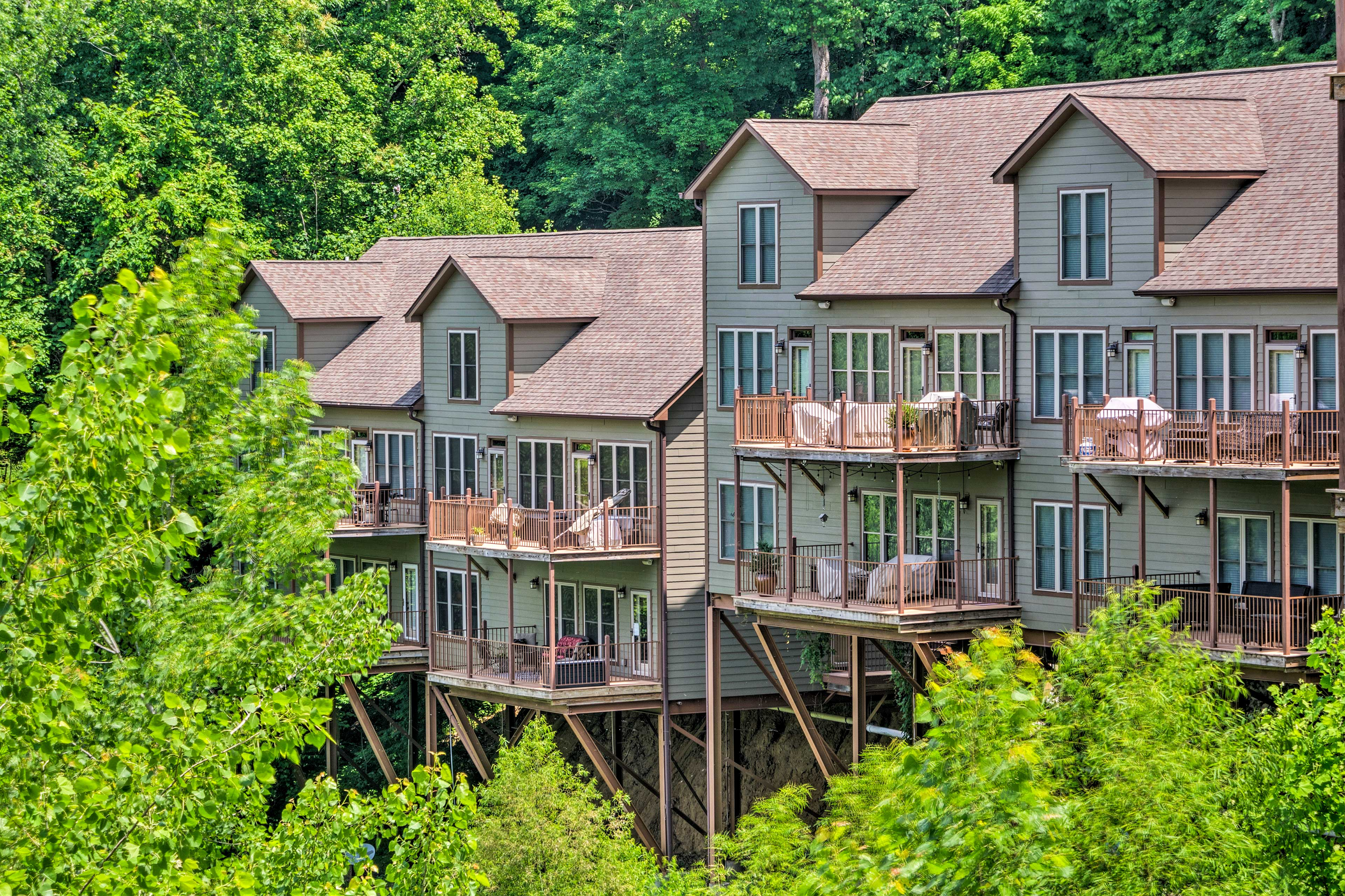 This condo complex is nestled into the mountainside.