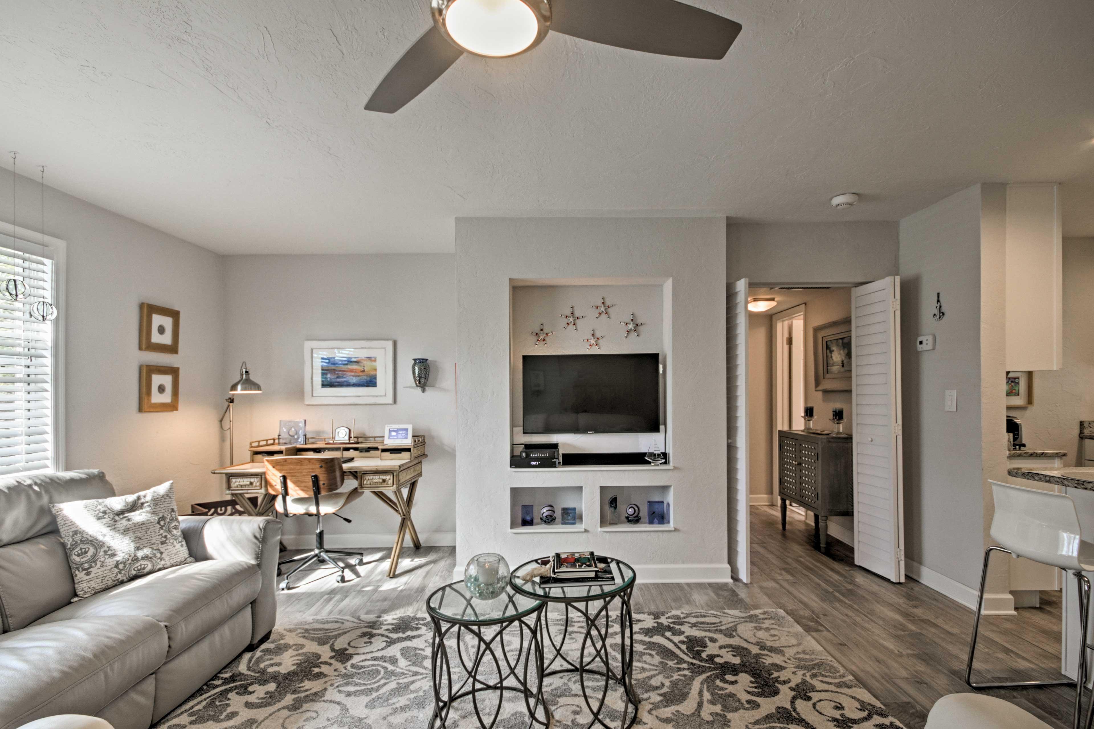 Easily communicate through the open-concept living area.