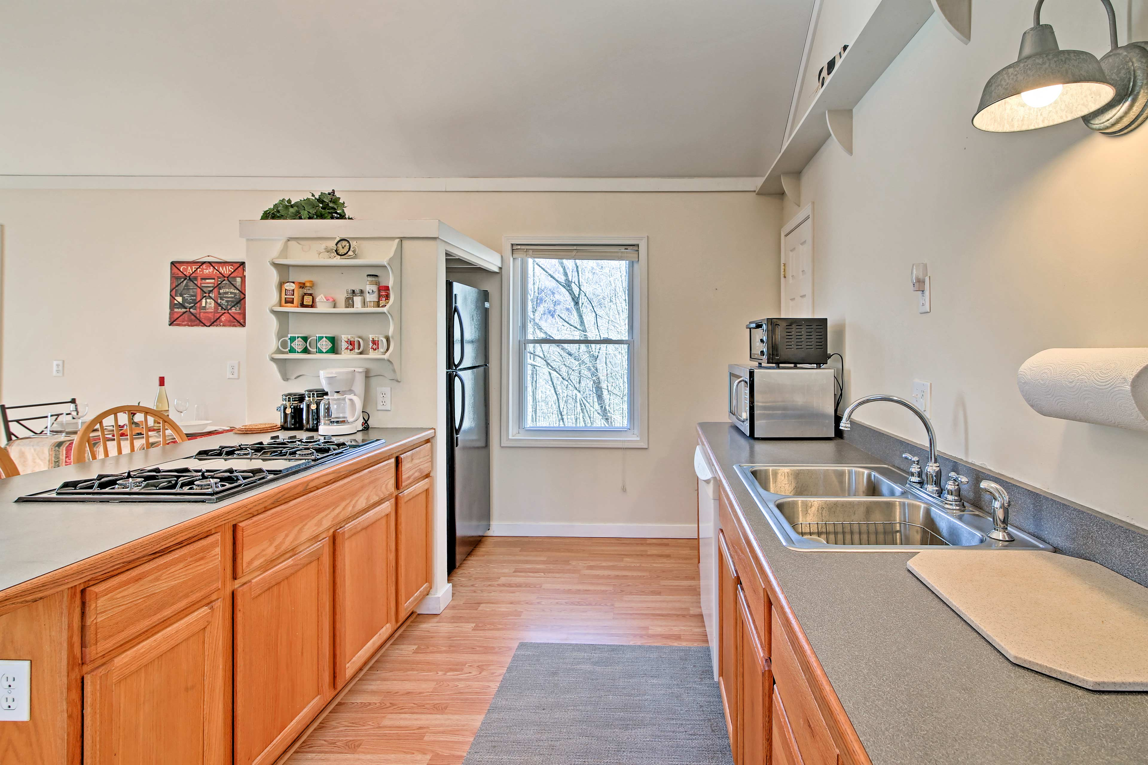 The kitchen is well-equipped to meet your culinary needs.