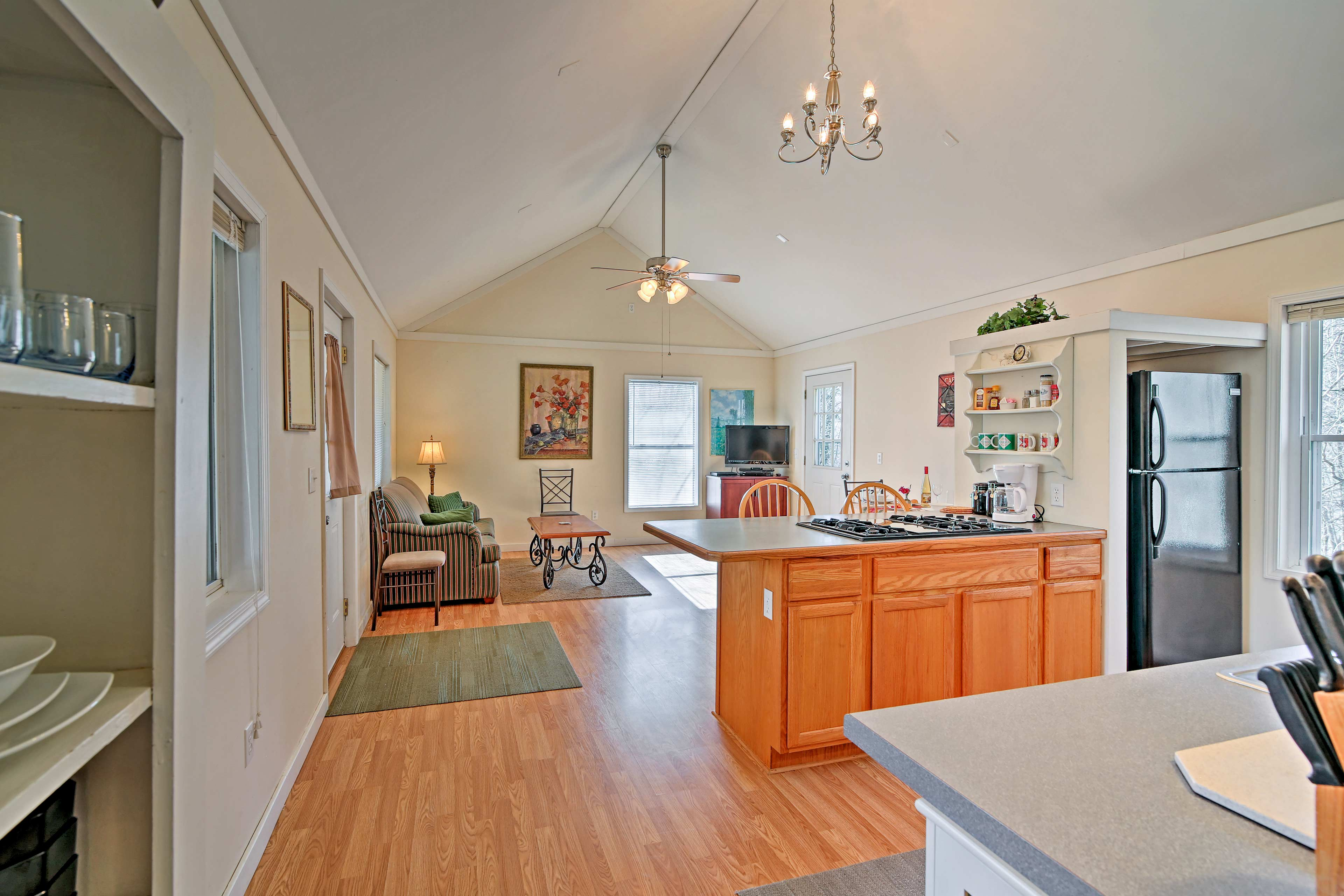 Hardwood floors line the interior of the home.
